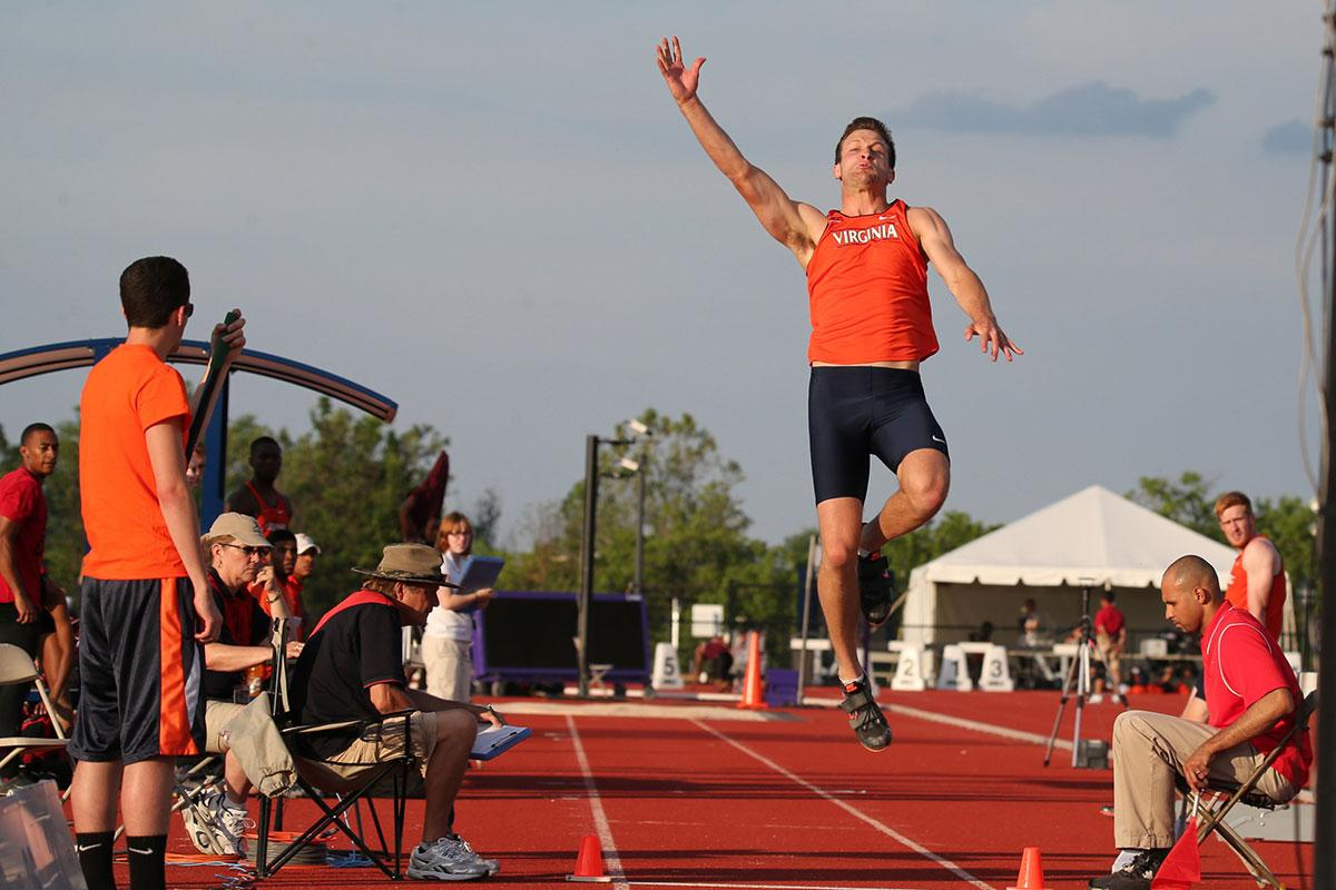 UVA decathlete Cam Collins competes in the long jump. He started his collegiate athletic career as a basketball player at Hampden-Sydney College before making a rare jump to Division I athletics.