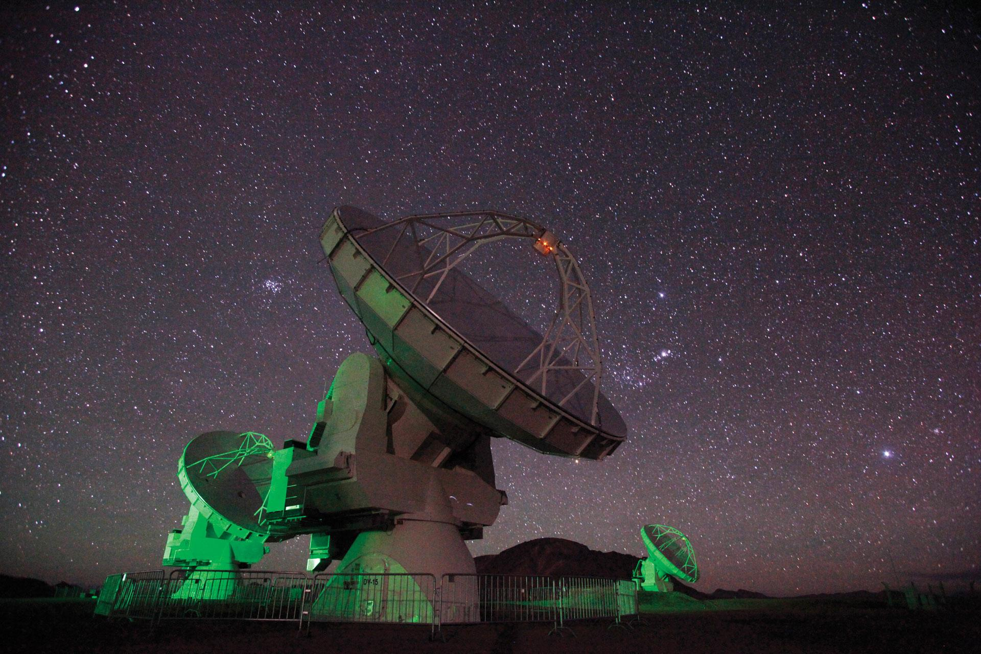 For their study, astronomers used a powerful radio astronomy observatory in Chile called ALMA – the Atacama Large Millimeter/submillimeter Array, which allows observations through thick clouded regions of the universe. (Photo courtesy ALMA/AUI/NSF)
