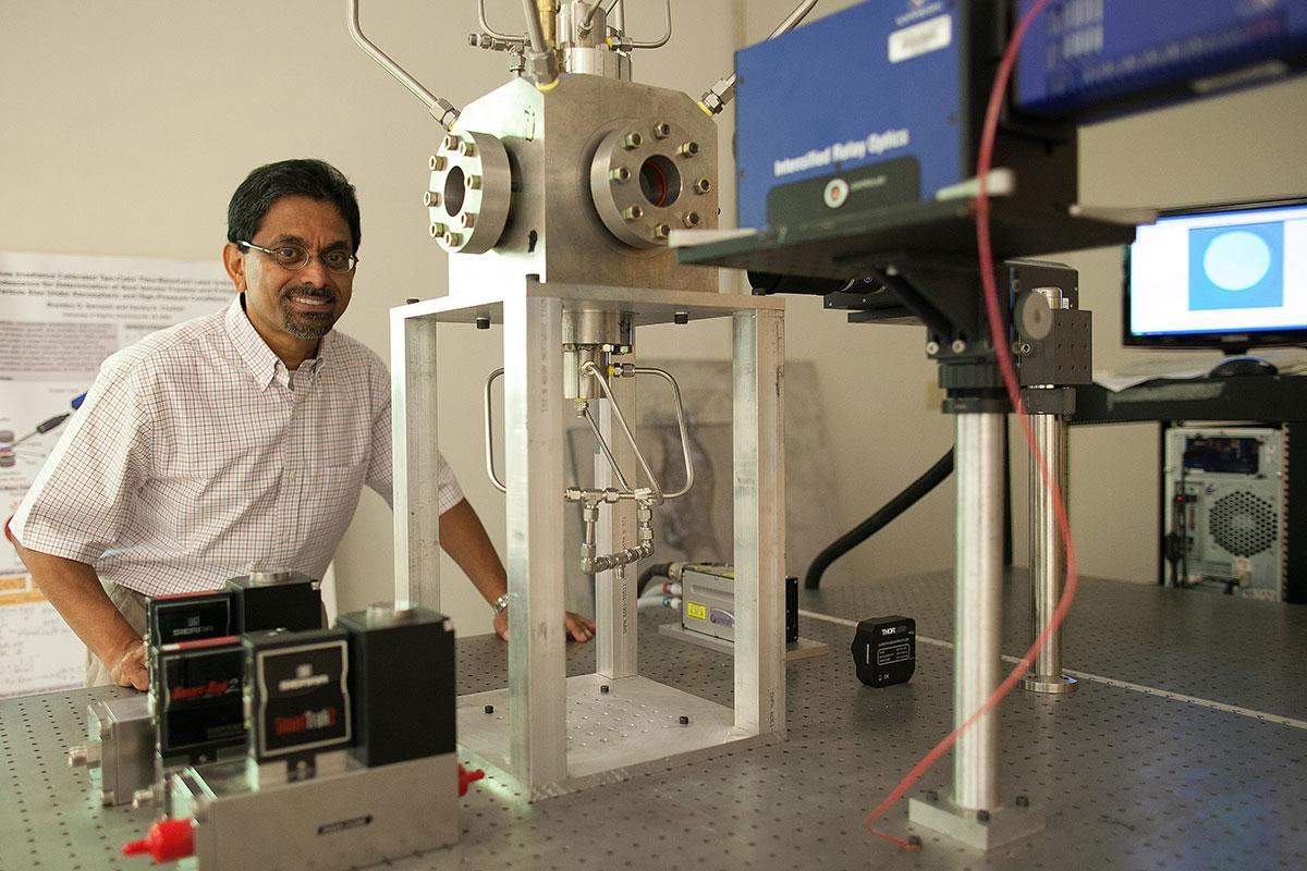 Harsha Chelliah works in his lab. He is one of a number of UVA engineering faculty members who are working toward advancing hypersonic flight from theory to the real world.