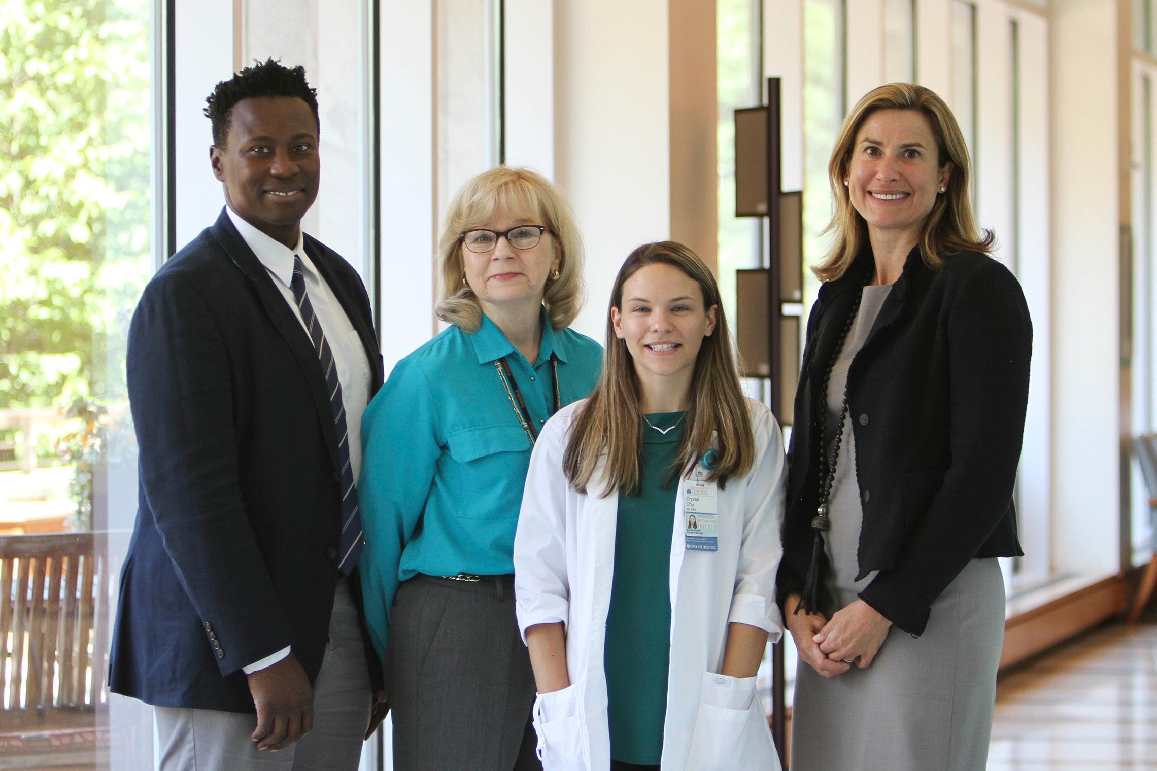 Randy Jones, professor of nursing; Pat Hollen, professor emerita of nursing; Crystal Chu, graduate nursing student; and Dr. Lynn Dengel, a surgeon at the UVA Medical Center. (Photo by Shannon Reres, University Communications)