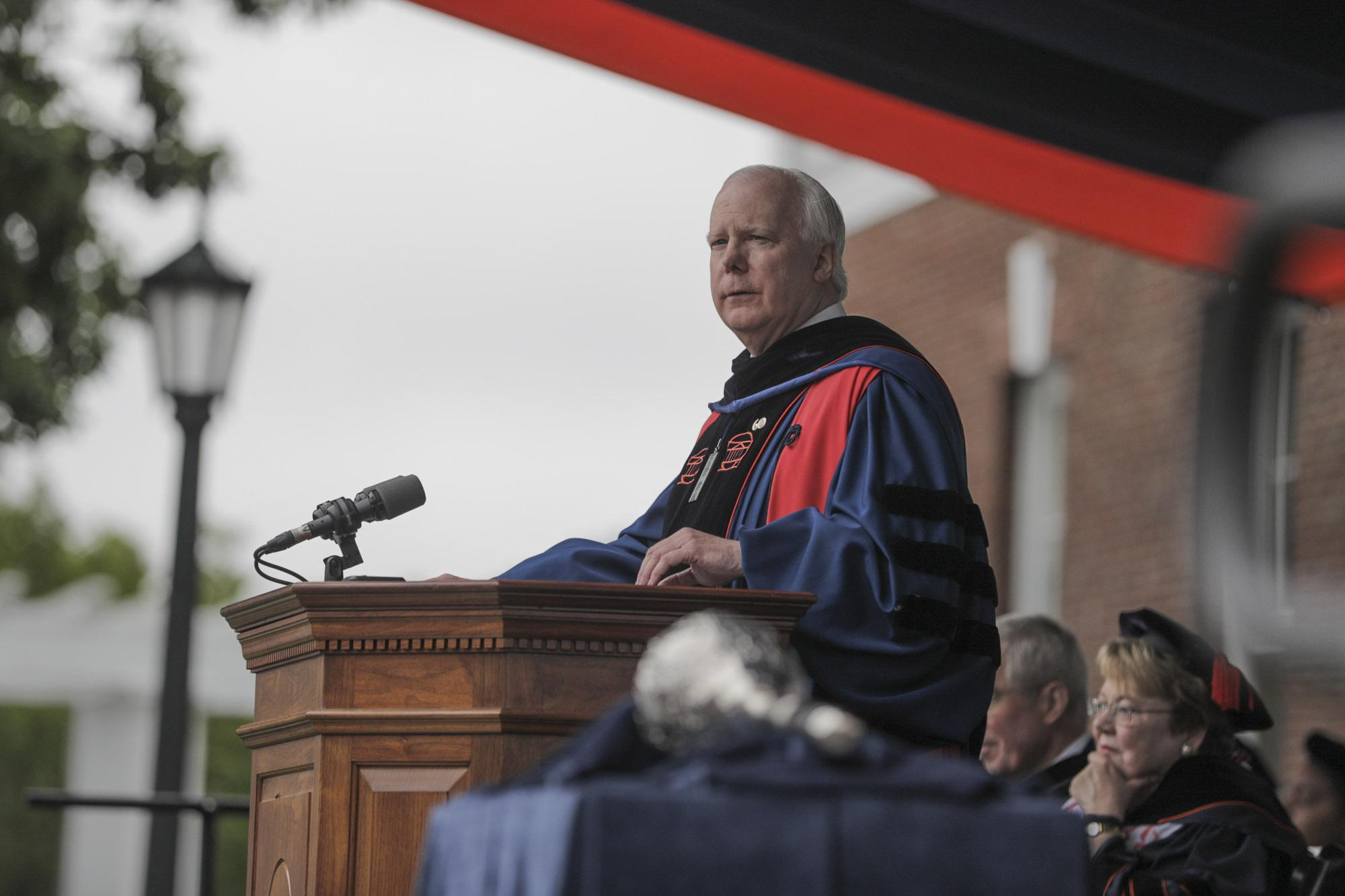 "University of Virginia Rector Frank M. ""Rusty"" Conner delivers remarks at 2018 Final Exercises. (Photo by Sanjay Suchak, University Communications)"