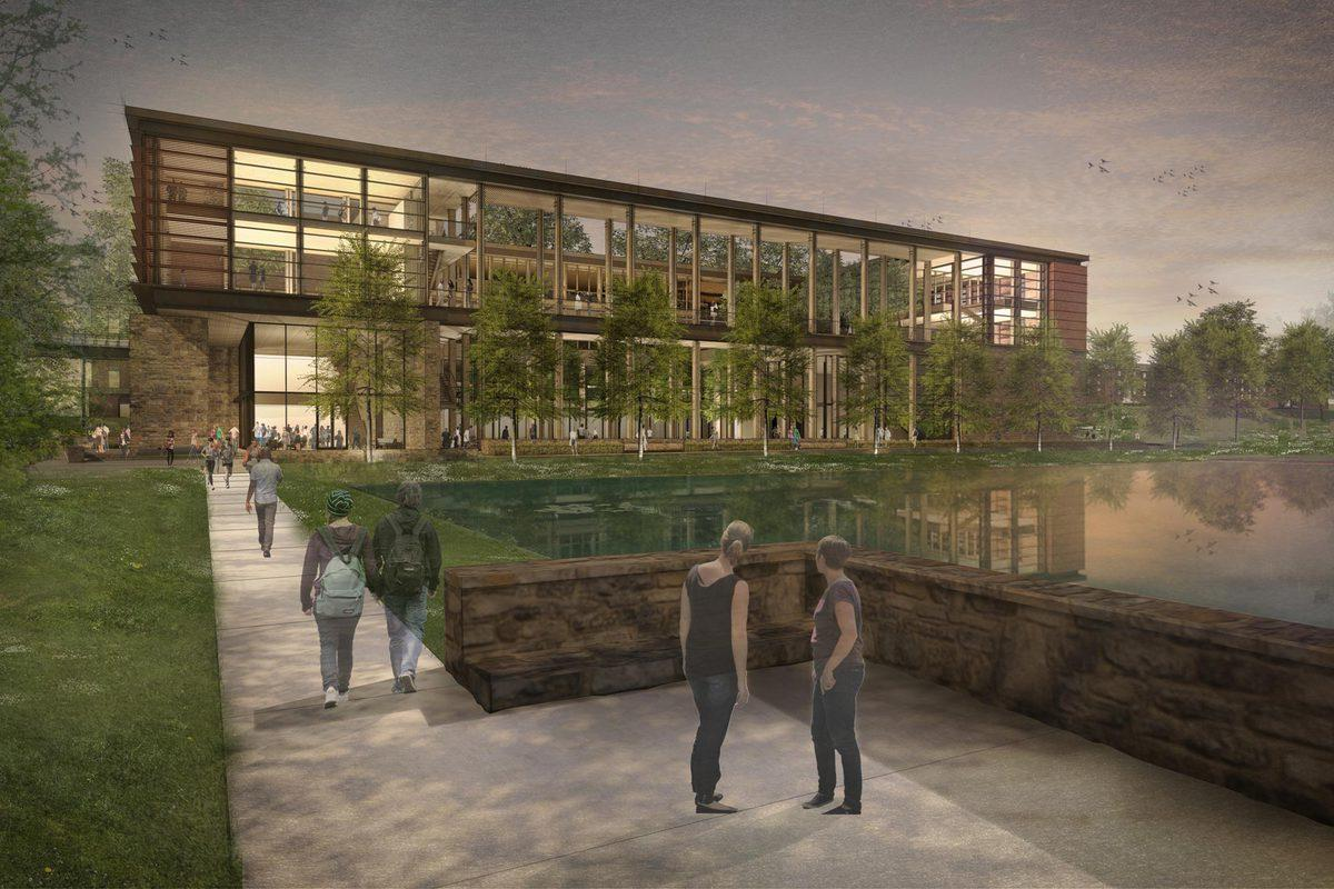 An architect's rendering of the planned Contemplative Commons, to be built near the Dell on Emmet Street.