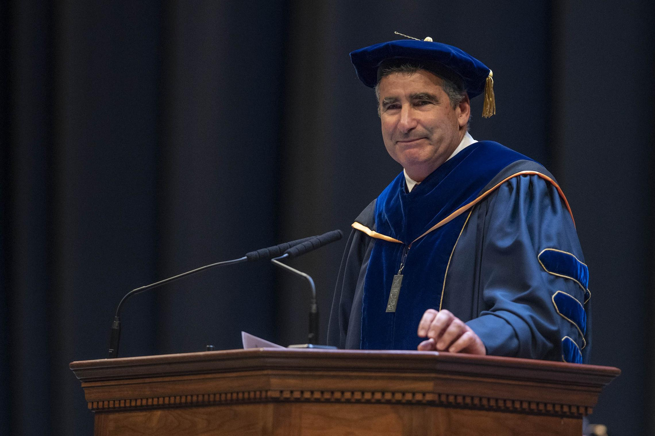 Thomas Katsouleas, UVA's executive vice president and provost, urged students to push beyond their classroom education to seek meaning and happiness in their lives.