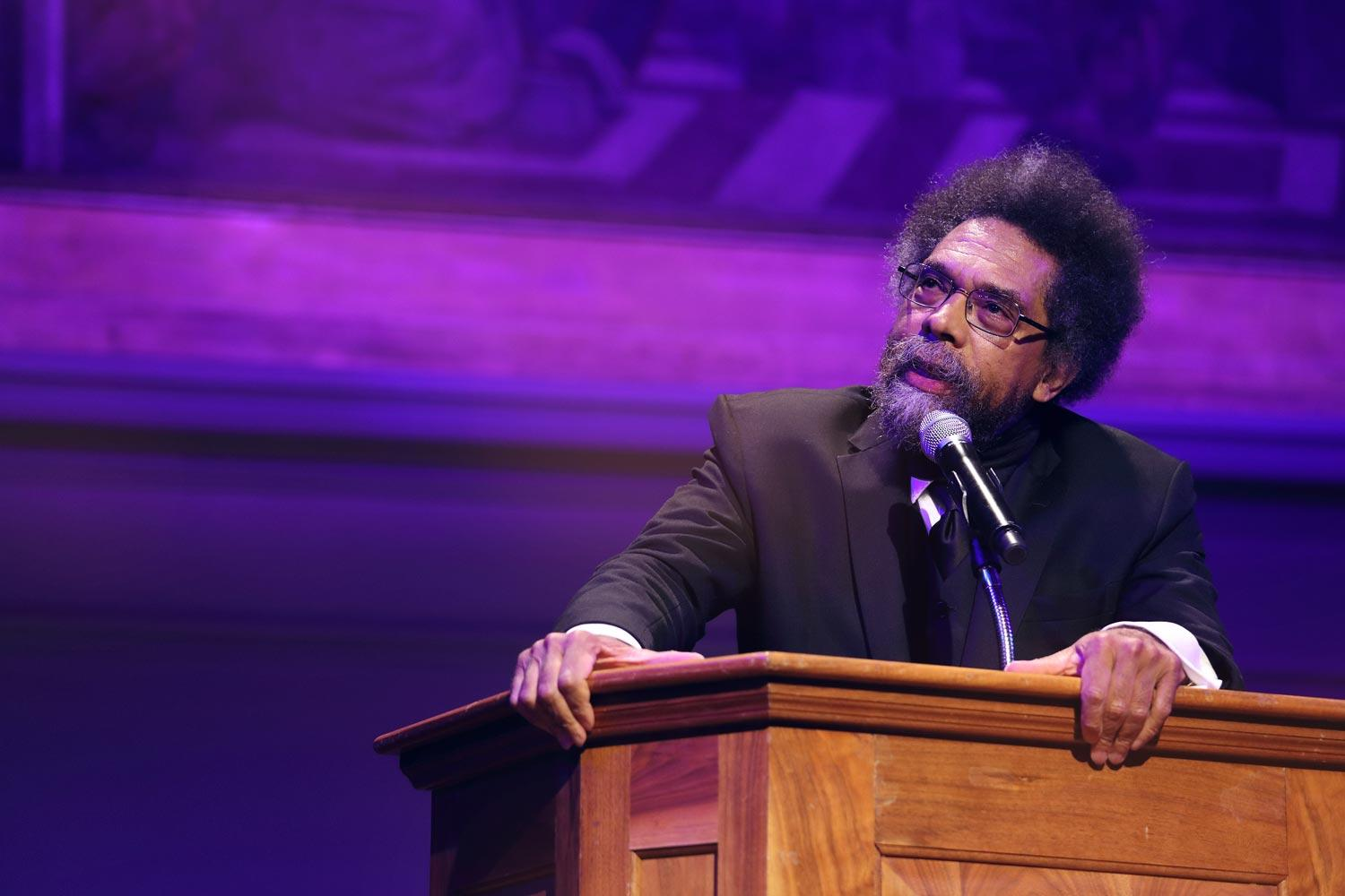 """Americans are experiencing """"an eclipse of generosity and integrity as we pursue being the richest and the smartest,"""" Harvard professor Cornel West said."""