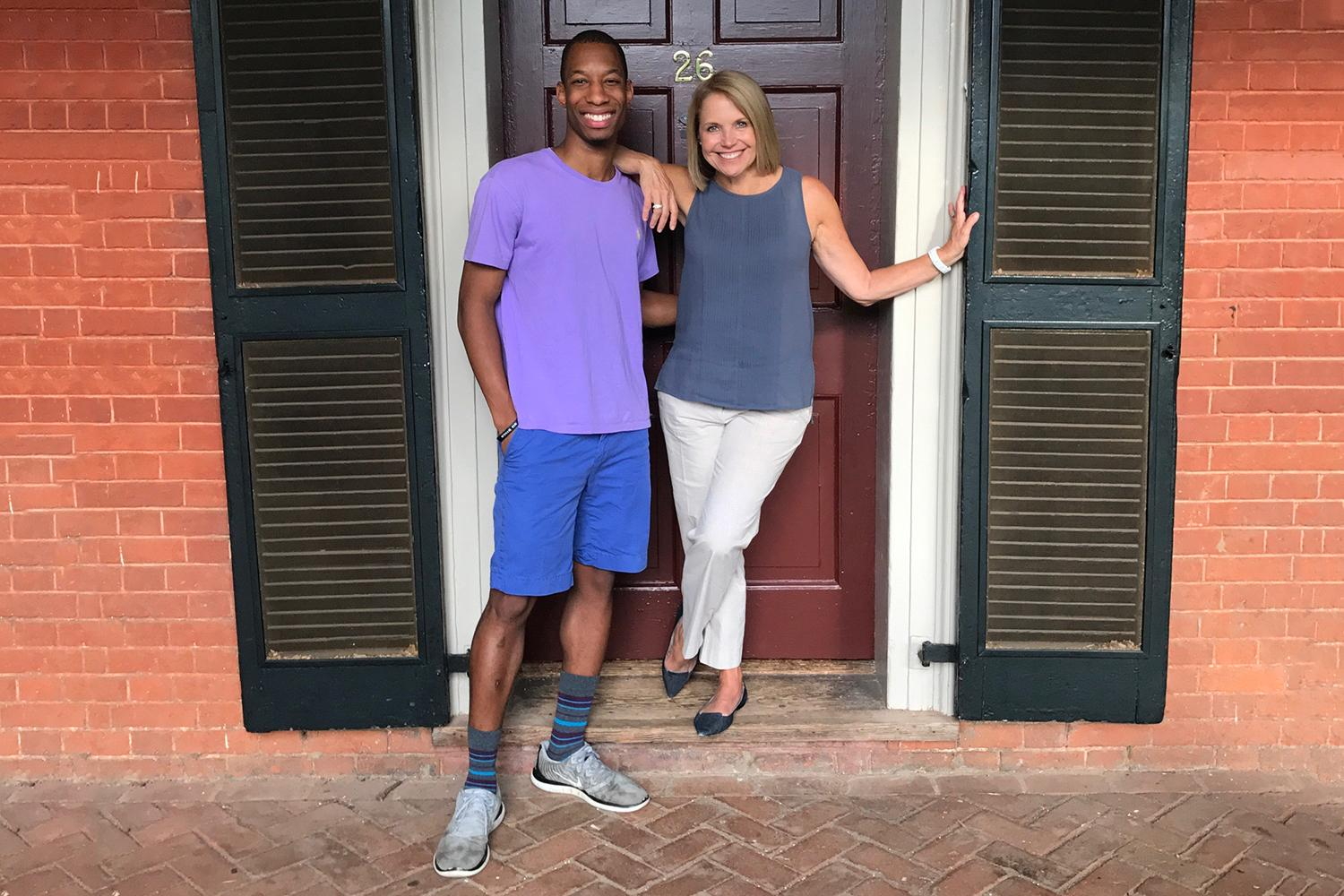 Katie Couric, a former senior resident on the Lawn, visited current senior resident Malcolm Stewart Thursday evening. (Submitted photo)