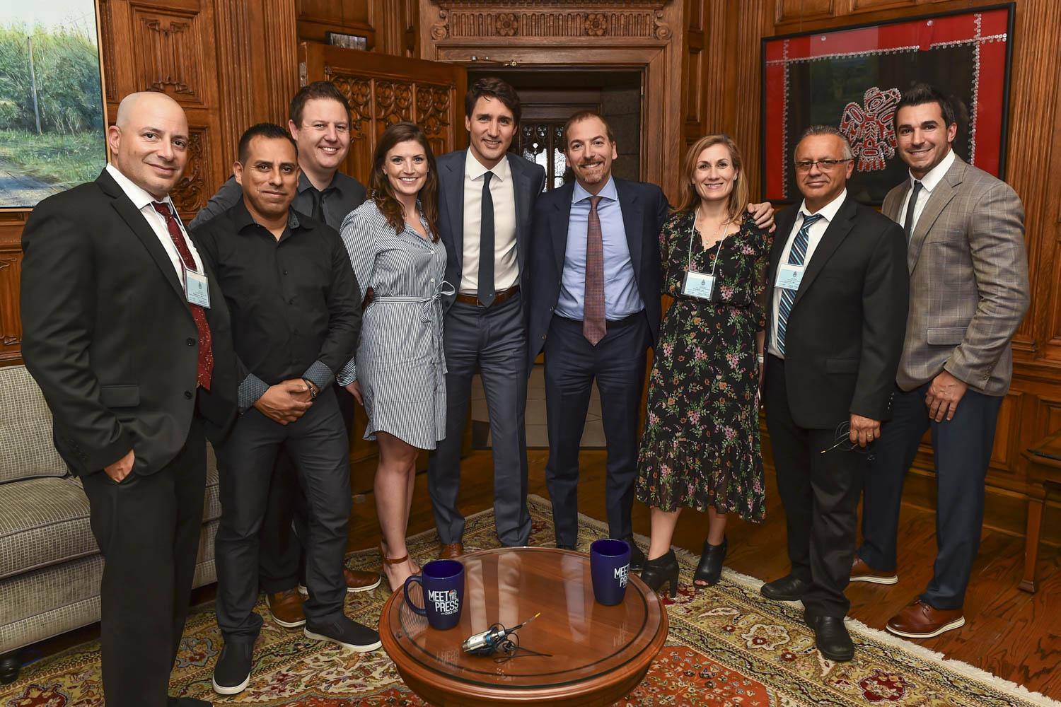 "Cucchiara, fourth from left, with Canadian Prime Minister Justin Trudeau, on her left, after taping Trudeau's segment for ""Meet the Press."""
