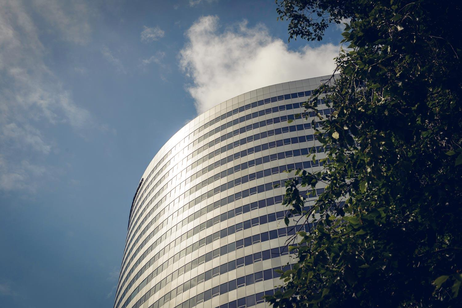 A rounded building