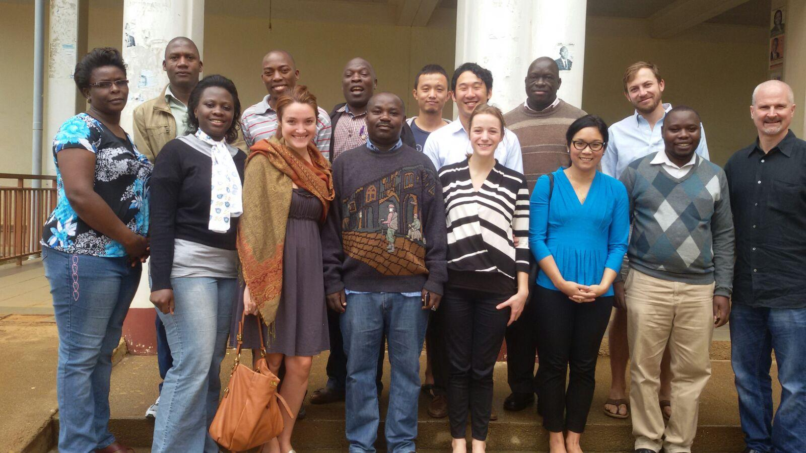 Darden students and faculty joined students and faculty at the Institute of Management Sciences at Mbarara University of Science and Technology in Mbarara, Uganda. (Photo provided by Aldea Meary-Miller)