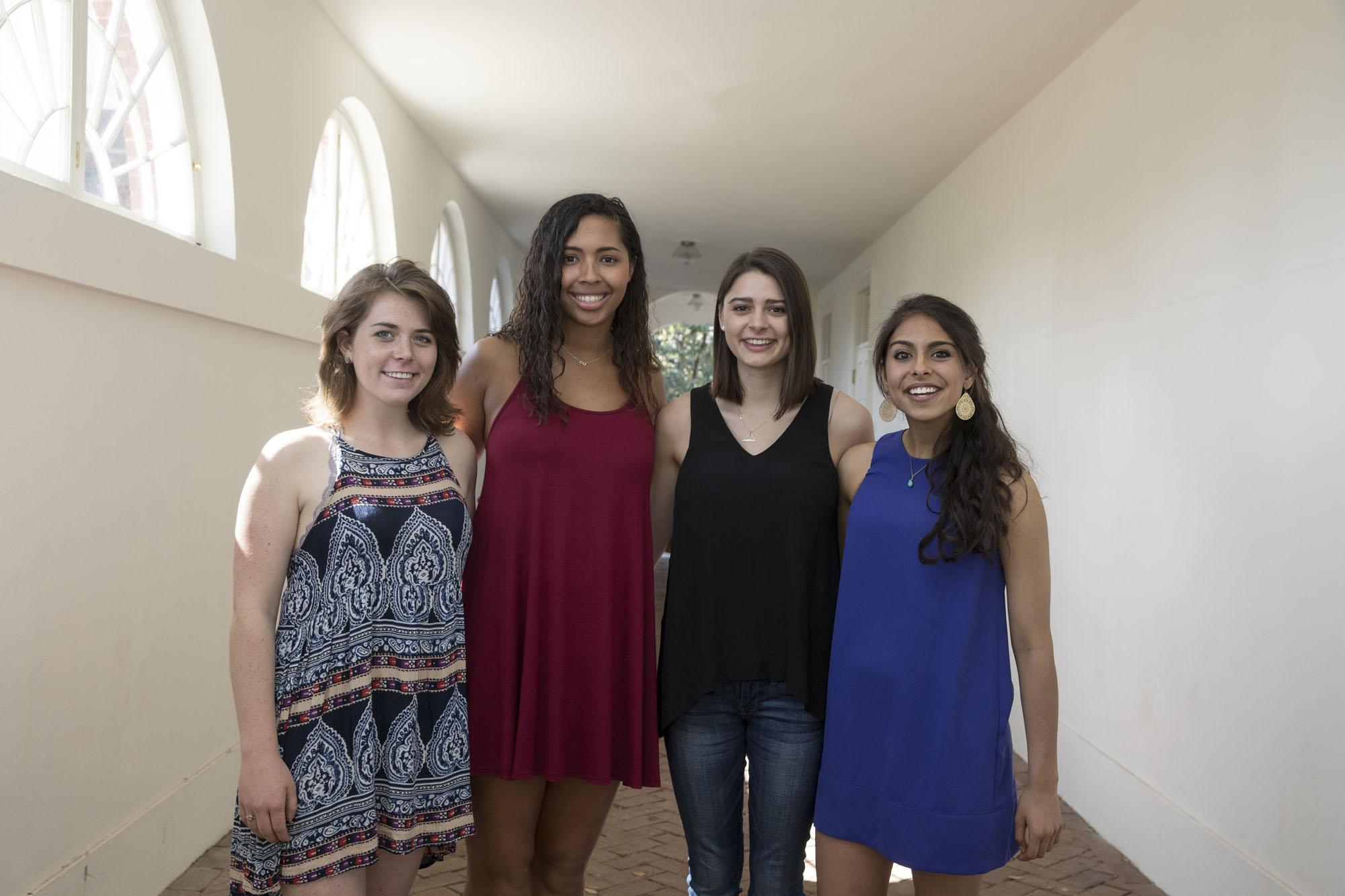 From left, Davis Prize for Peace winners Madeline Curry, Jillian Randolph, Sophie Binns and Nanki Kaur will work in South Africa this summer.