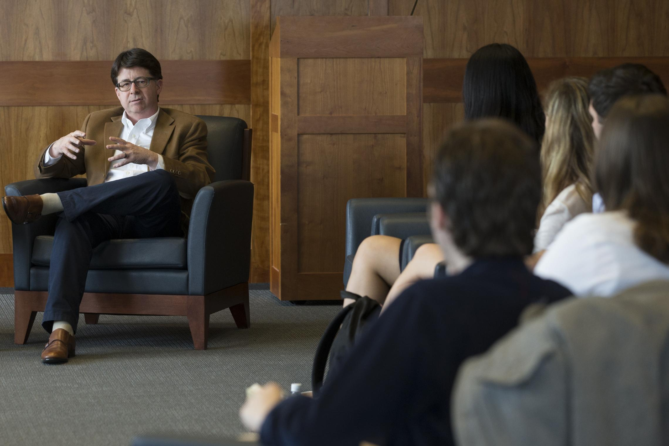 UVA Law graduate Dean Strang spoke at the Law School in March. (Photo by Dan Addison, University Communications)