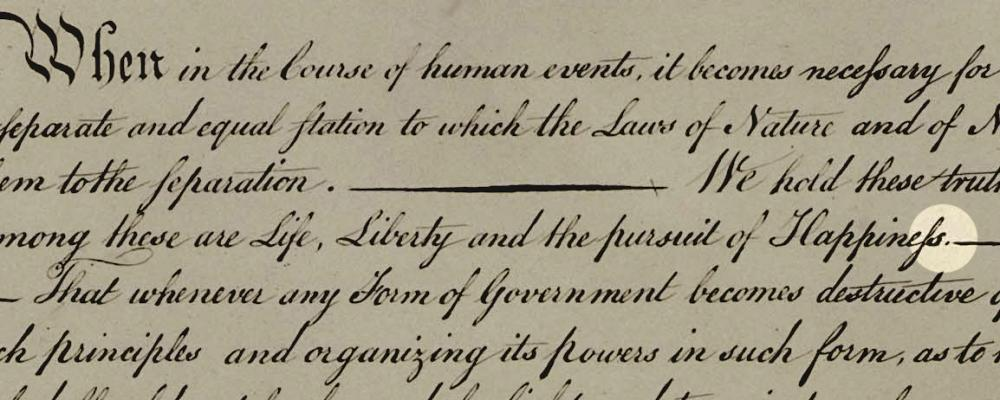 "There's an ongoing debate among historians on whether the period after ""pursuit of happiness"" in the Declaration of Independence - shown here in an 1823 engraving - was actually a comma on the 1776 original."