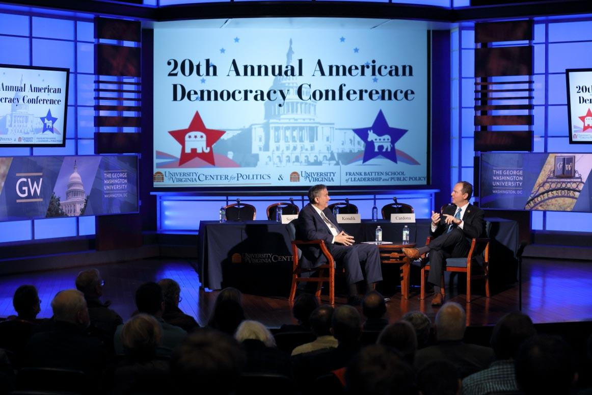 Larry Sabato, director of UVA's Center for Politics, interviews Democratic U.S. Rep. Adam Schiff at the start of Thursday's American Democracy Conference.