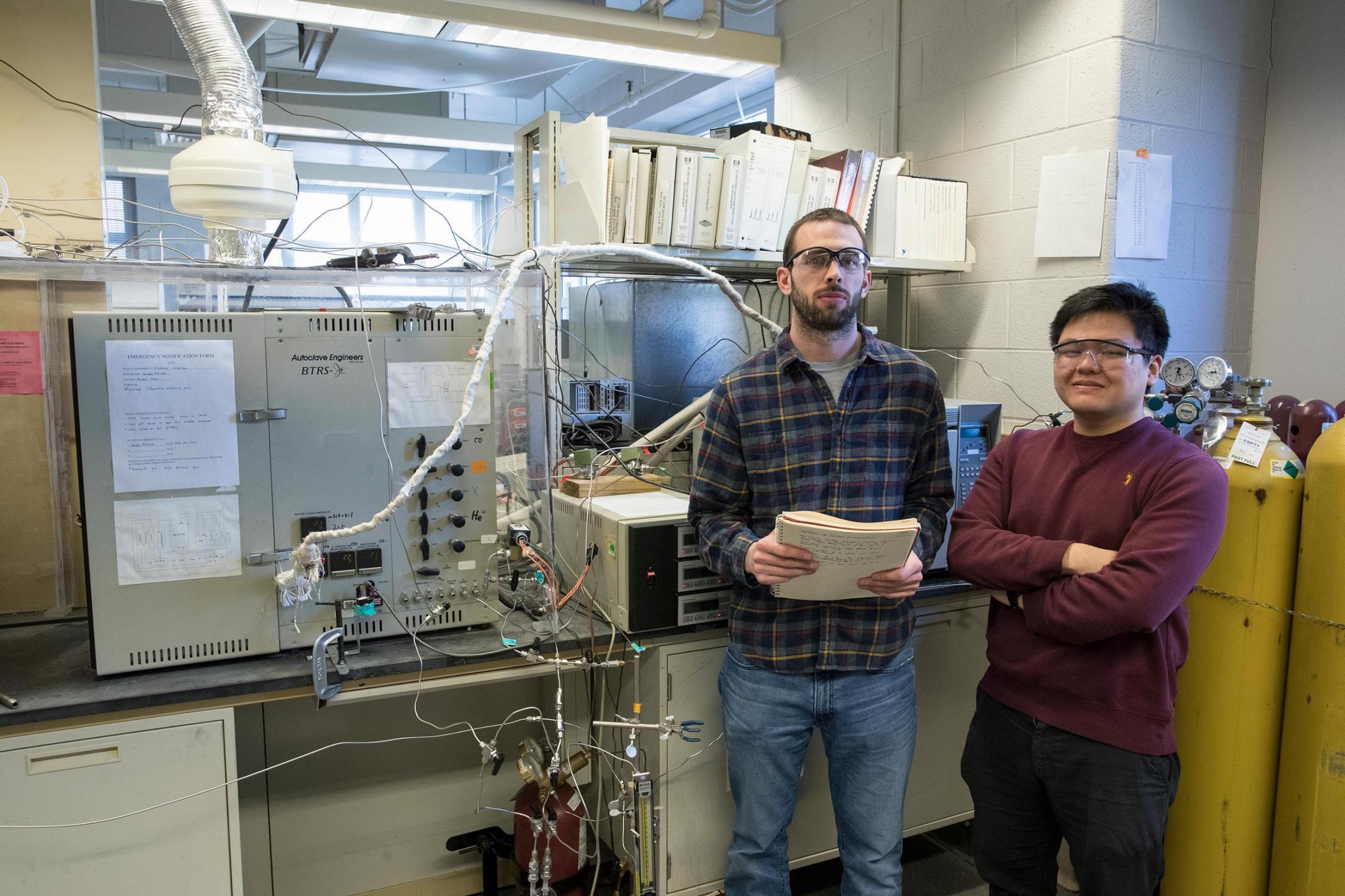 Double 'Hoo researchers Gordon Brezicki, left, and Jonathan Zheng are seeking a cheaper way to convert methane into methanol.