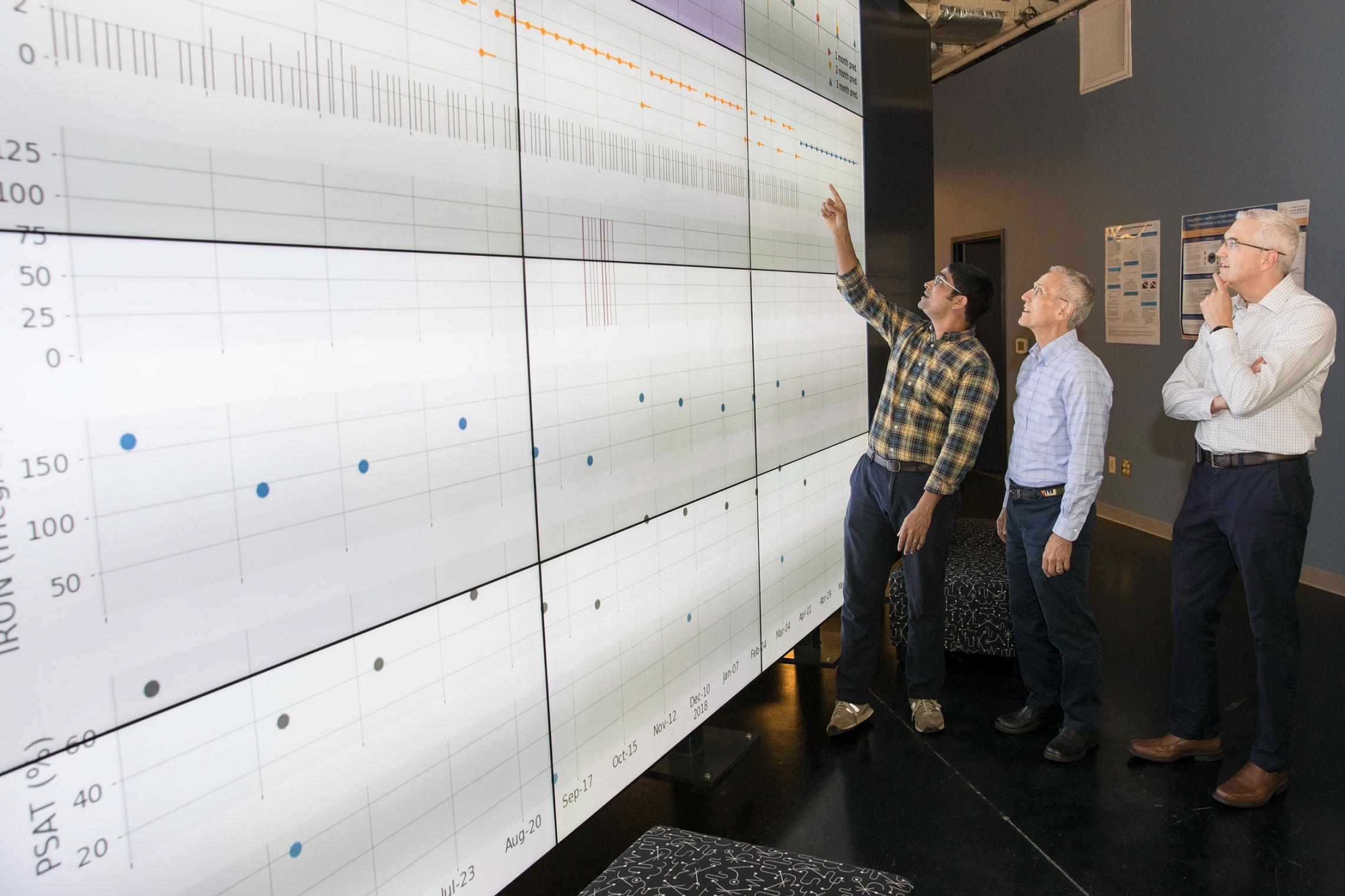 Data scientists Benjamin Lobo, left, and Don Brown, center, discuss study findings with Dr. Brendan Bowman, director of UVA's 11-clinic dialysis system.