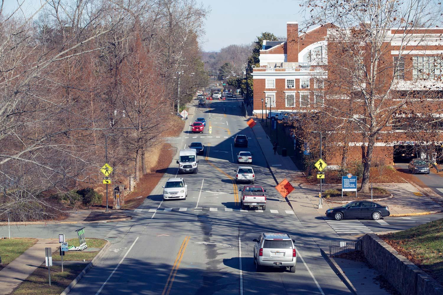 Even without most students on Grounds, this stretch of Emmet Street is normally well-trafficked. It will be closed from Wednesday through Jan. 14.
