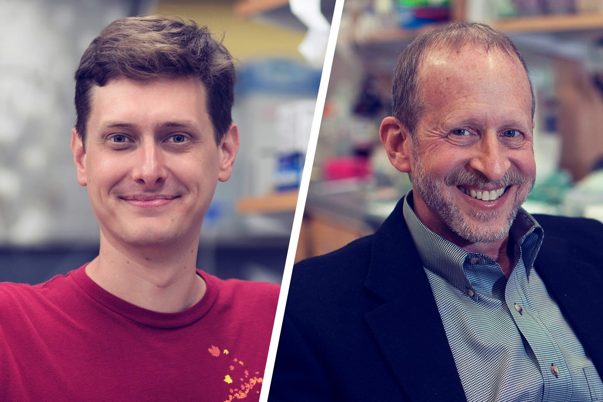 Recent Ph.D. graduate Eric Swanson, left, working in the lab of biology professor George Bloom, right, is the main author of a new study seeking to unravel the complexity of Alzheimer's disease.