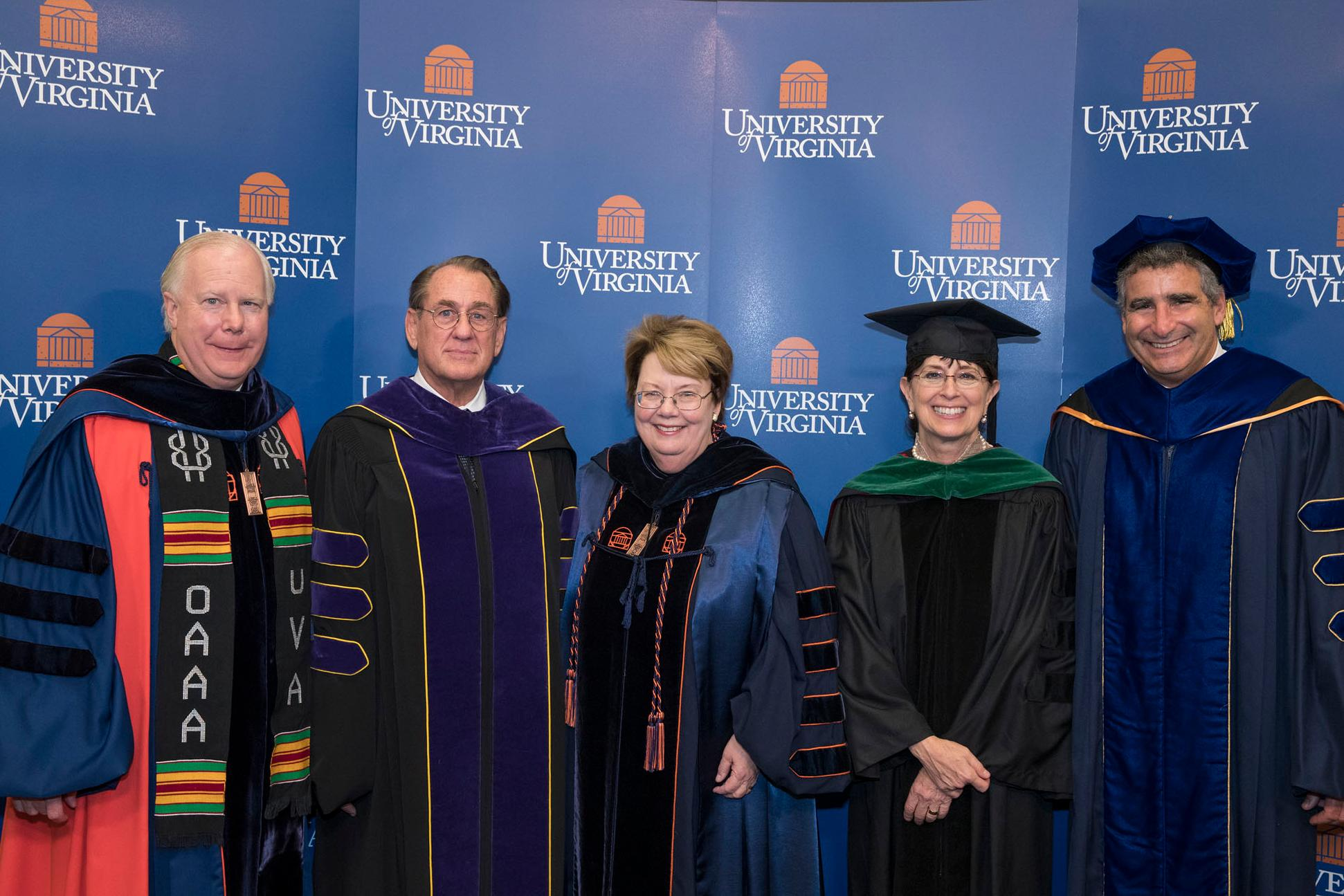 "President Teresa Sullivan, center, is flanked by Thomas Jefferson Award winners John Jeffries and Karen Rheuban, with Rector Frank ""Rusty"" Conner III, left, and Provost Thomas Katsouleas. (Photos by Dan Addison, University Communications)"
