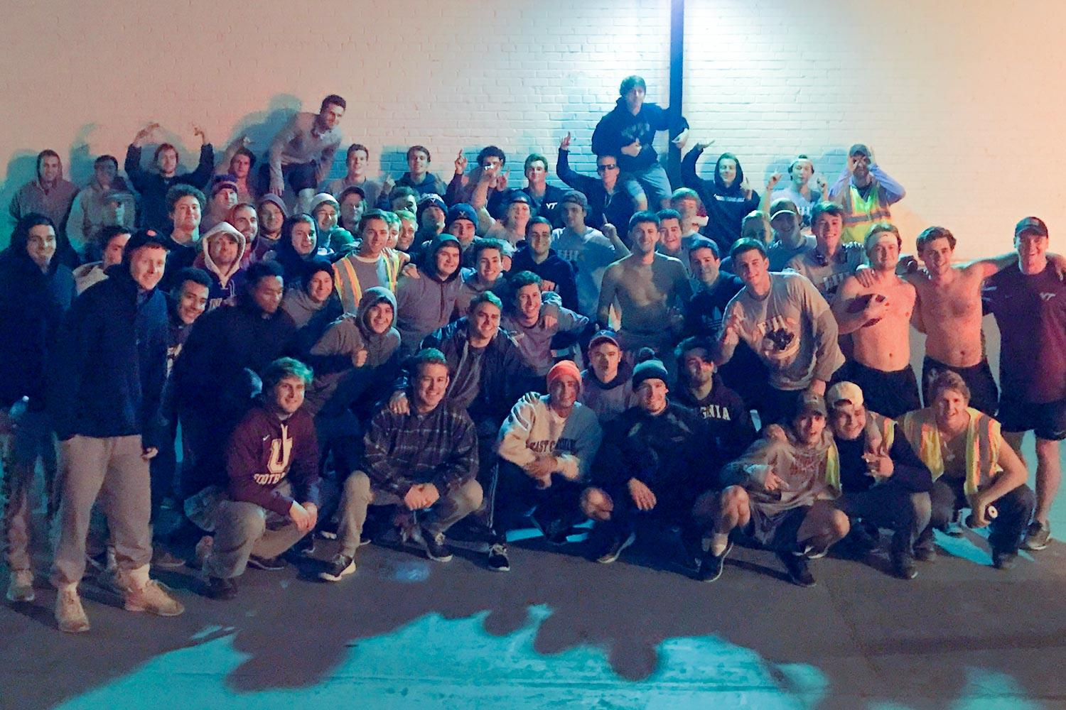 Members of UVA's Phi Gamma Delta fraternity chapter paused for a photo before completing the 15th annual Run Across Virginia on Friday night. The run raises money for the V Foundation to fund cancer research.