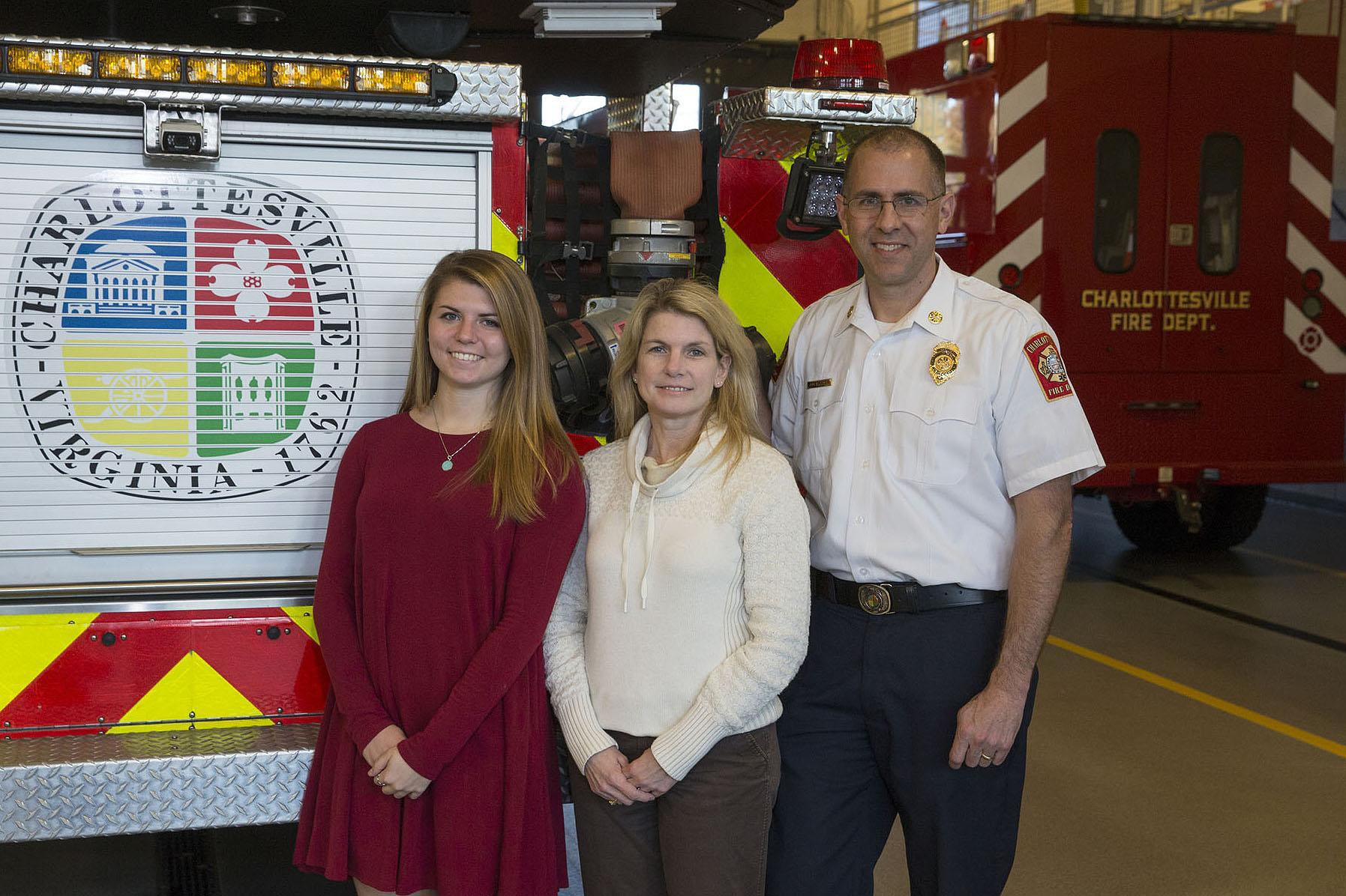 Charlottesville's new fire chief, Andrew Baxter, right, is a UVA School of Nursing alumnus, while his daughter, Kate, left, and wife, Barbara, are currently students there.