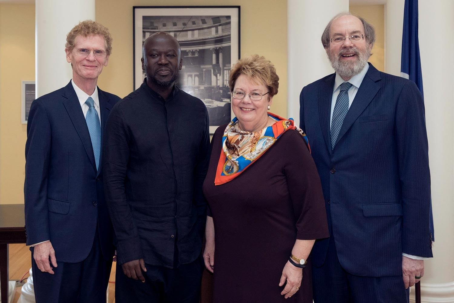 From left, Citizen Leadership medalist Cary Fowler, Architecture medalist Sir David Adjaye, UVA President Teresa A. Sullivan and Law medalist Judge Frank Easterbrook.