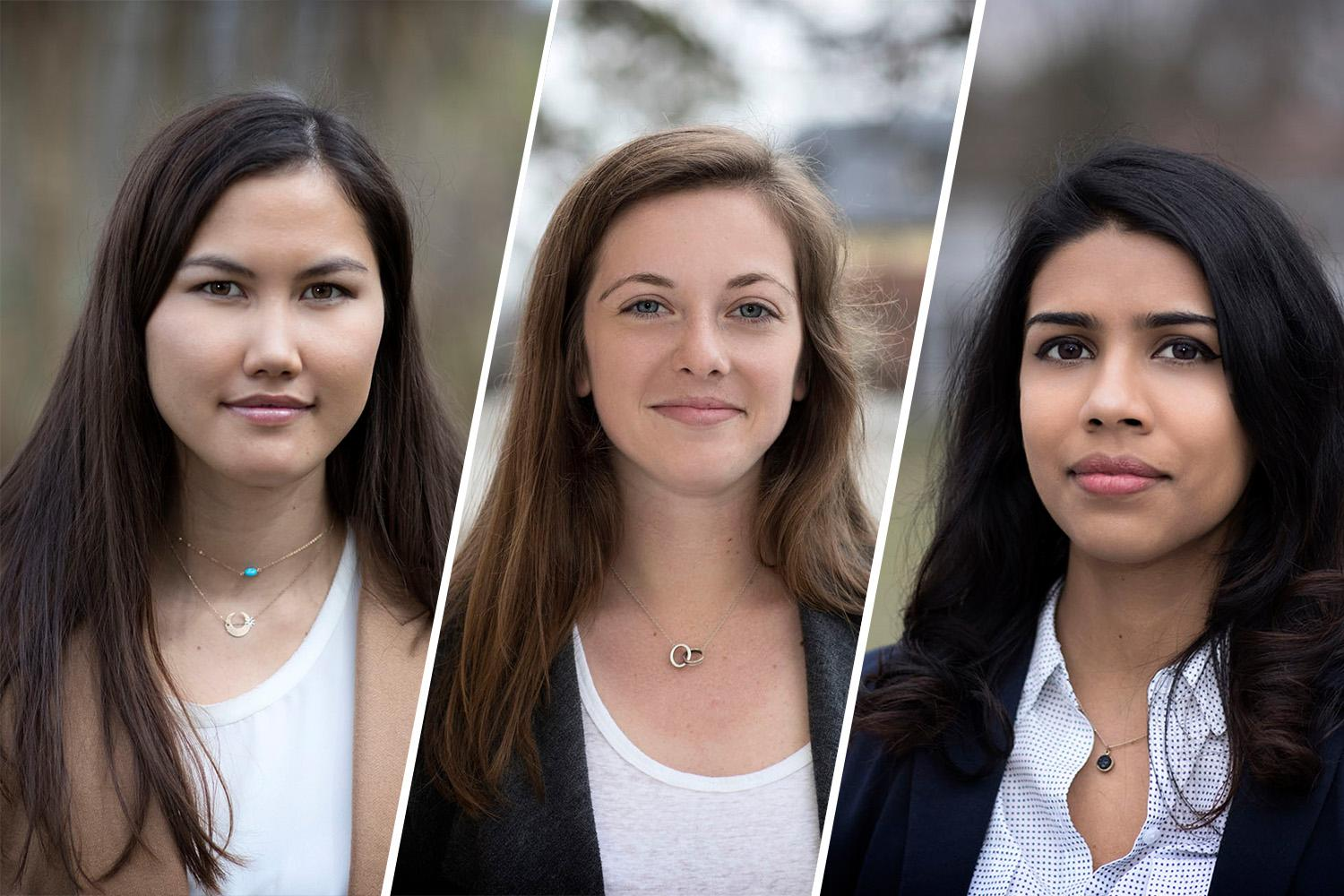 From left, Megan Eisenfelder, Natalie Kessler and Thrisha Potluri received 2017 Global Health University Scholars awards. Their research brought them to the Great Plains and Peru.