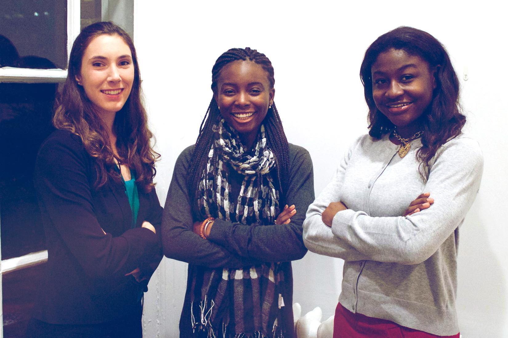 From left, second-year students Jessica Amick, Golda Houndoh and Nadjad Nikabou-Salifou are the winners of the 2017 Hannah Graham Memorial Award.