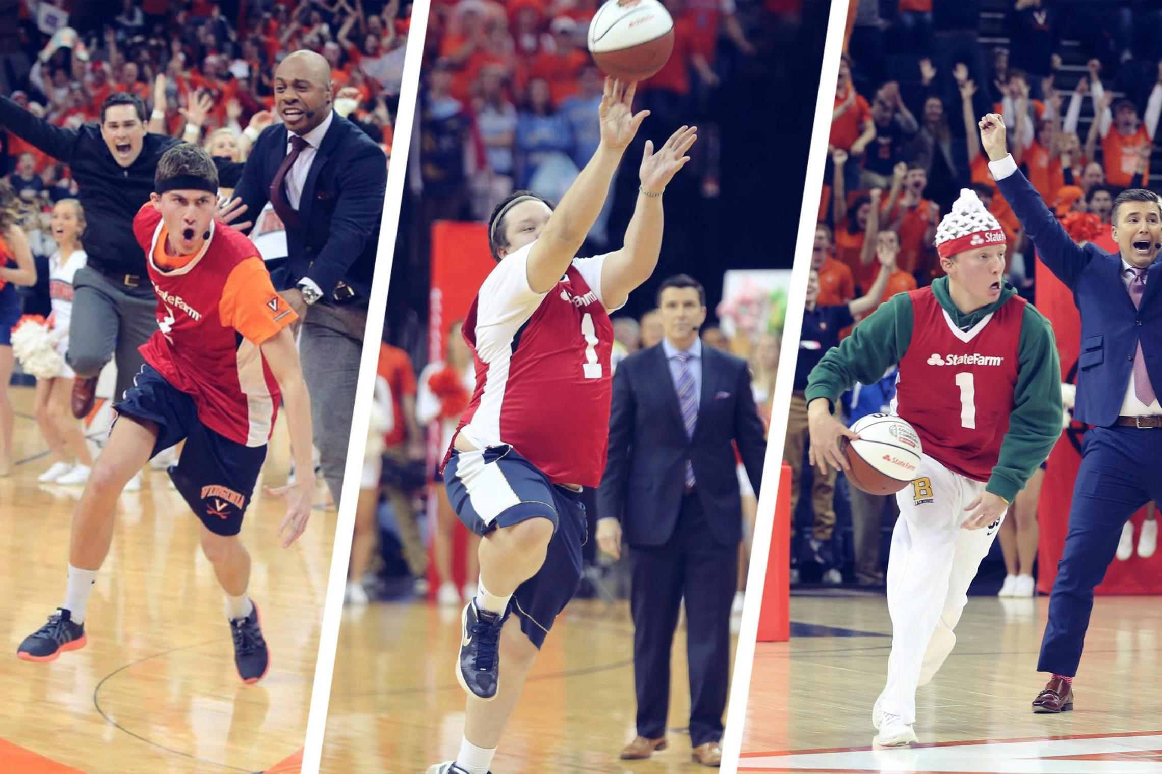 UVA students Tyler Lewis (left) and Andrew Board (center) made half-court shots in 2015 and 2016 before Angus Binnie followed suit last year.