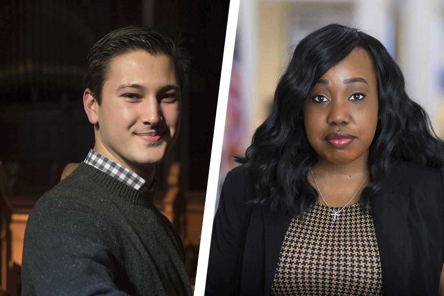 DeAnza Cook, right, and Jack Brake were among last year's Harrison Undergraduate Research Award recipients. (Photos by Dan Addison, University Communications)