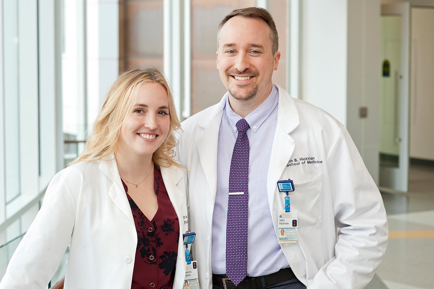 Alex Hickman, left, was the first to shift focus from theater to medicine. But John soon followed, and they agree that the skills used onstage translate well into their new careers.