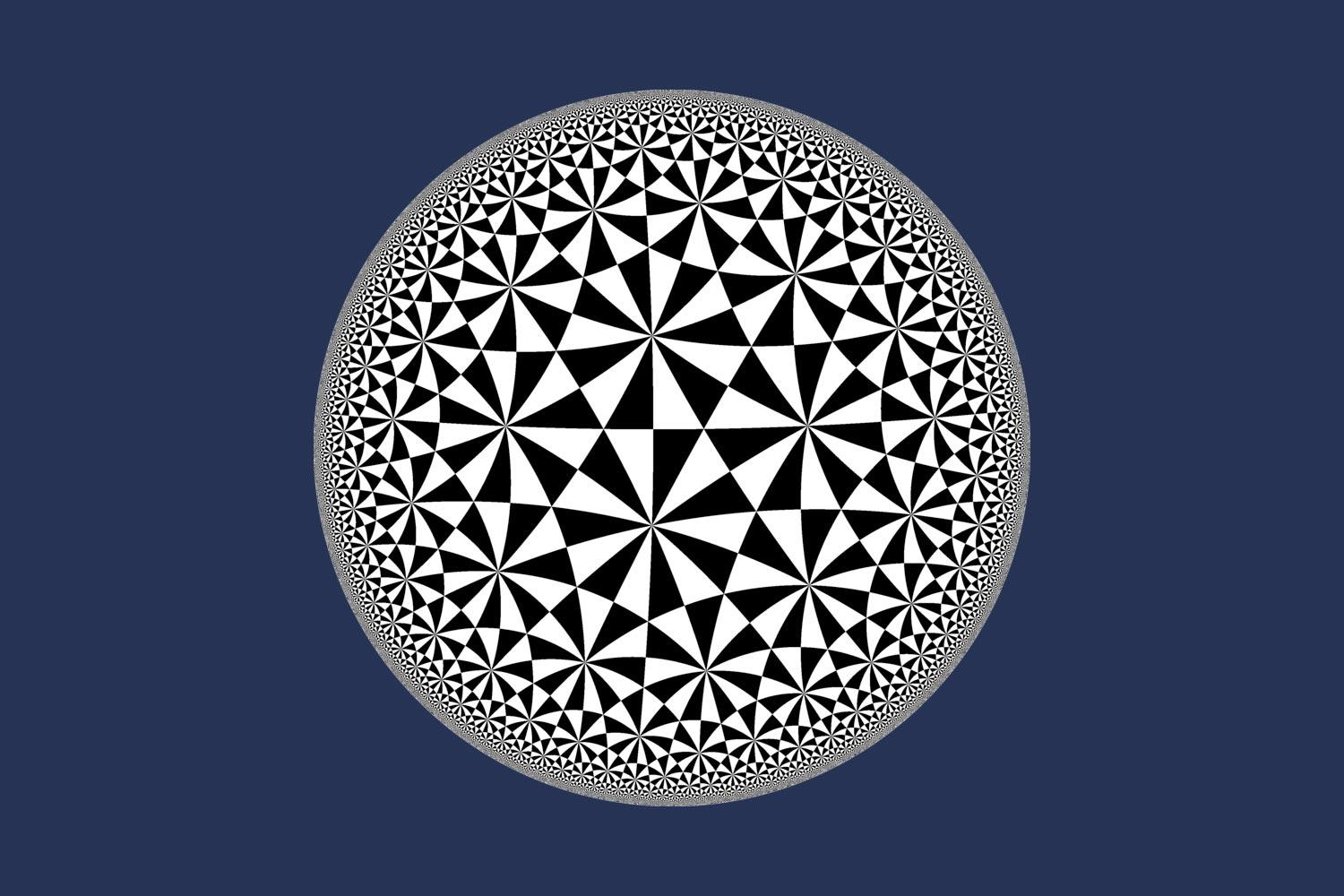A pattern in the hyperbolic plane. Mathematics professor Tom Mark is working on a three-dimensional version of this with undergraduate math student Sebastian Haney.