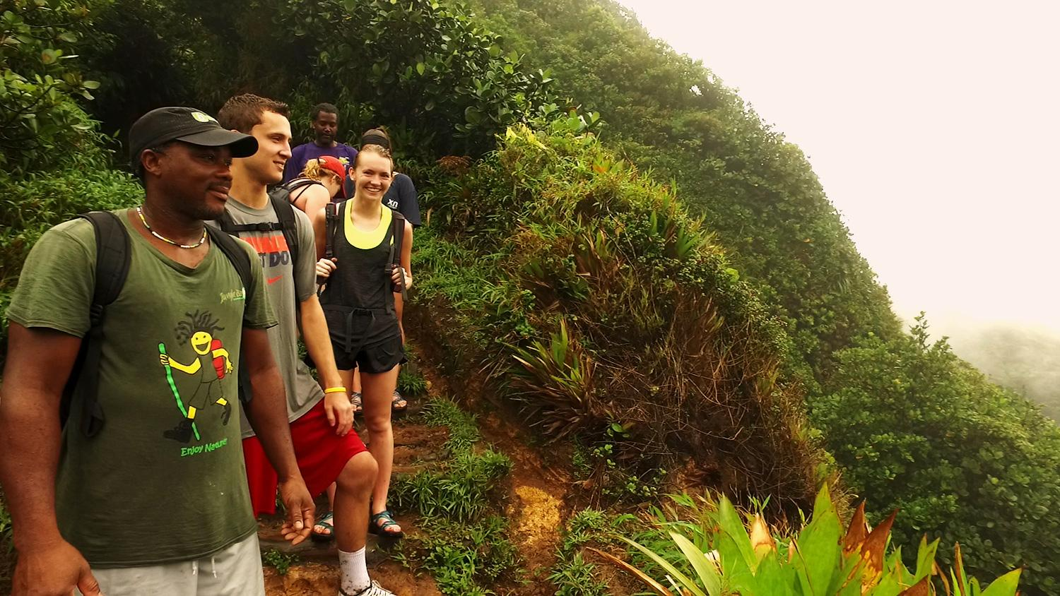 Students take in Dominica's scenic beauty and learn about its potential as an eco-tourism destination.