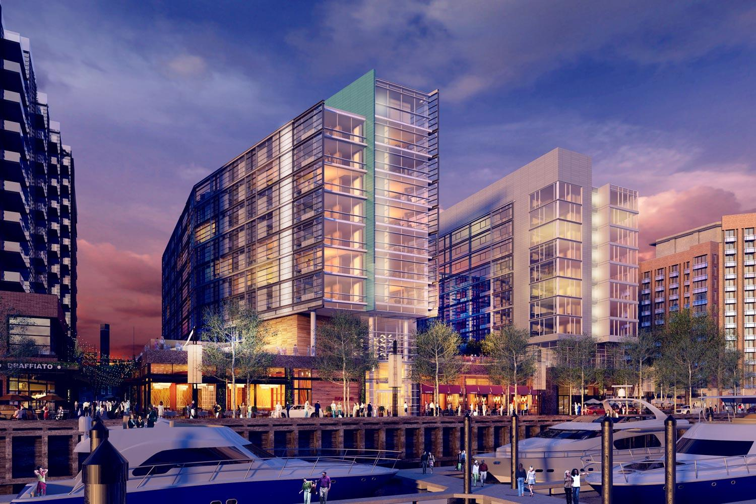 The Canopy by Hilton hotel along the Potomac River in Washington is scheduled to open in December. Hilton Holdings is opening more than a hotel a day. (Drawing courtesy of Hilton)