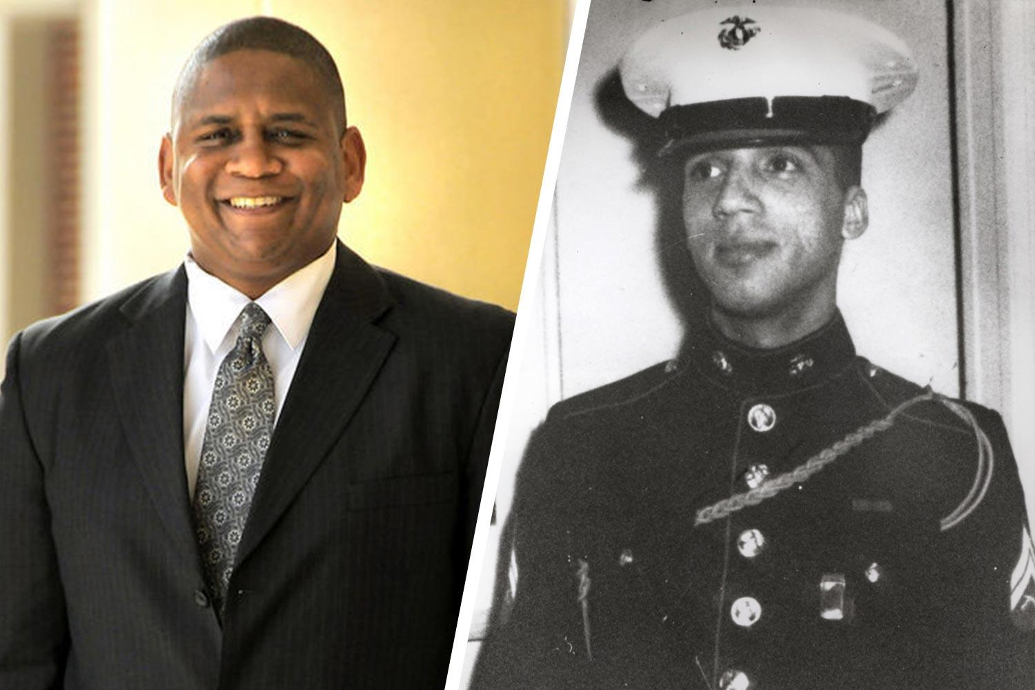 UVA alumnus John Hollis, left, has written two books, including one about U.S. Marine Sgt. Rodney M. Davis, right, a Medal of Honor recipient who sacrificed his life for five white Marines.