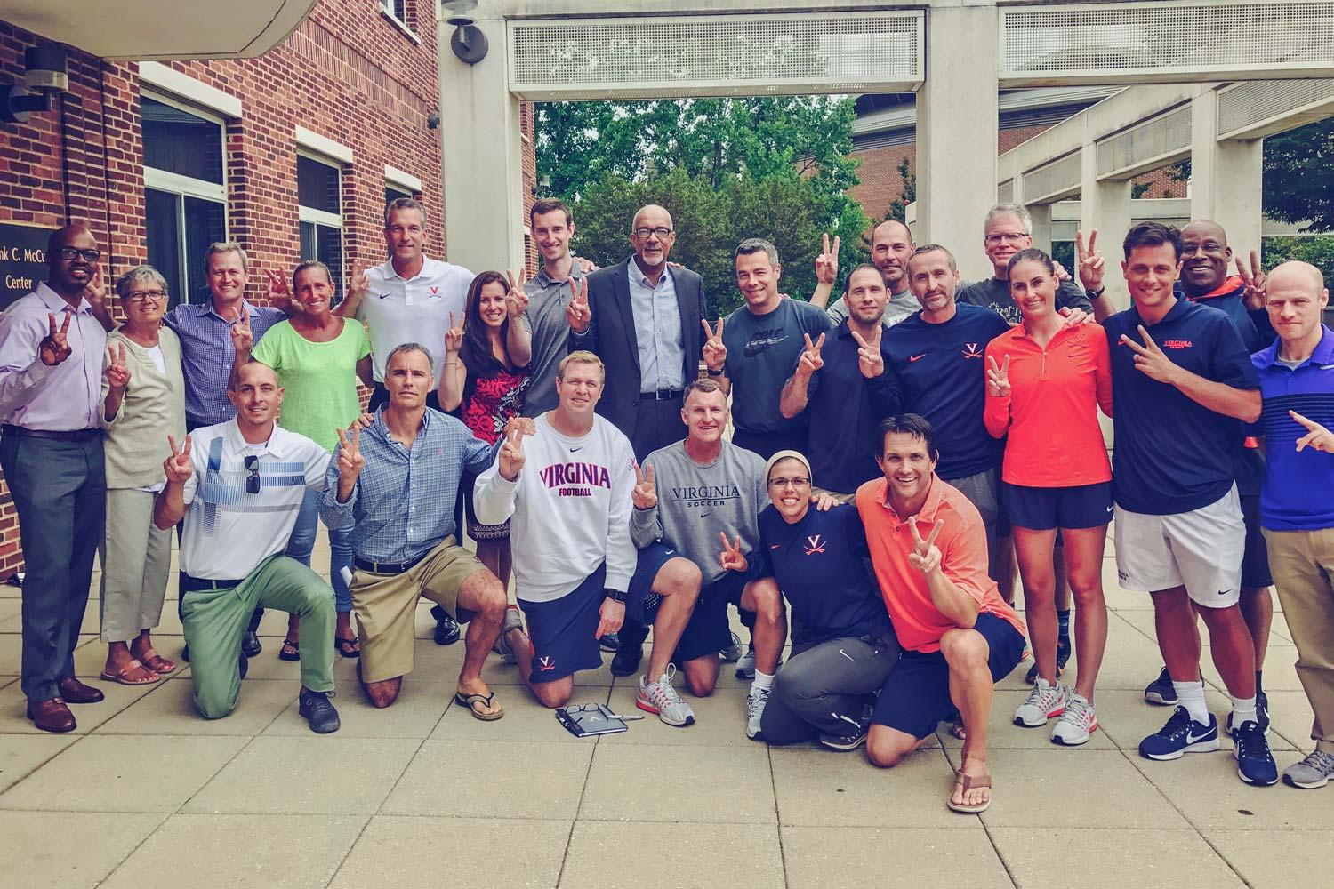 UVA coaches pose in support of unity and diversity