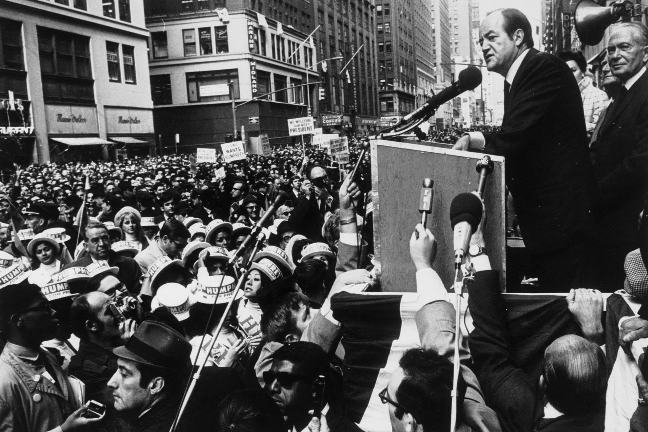 Democrat Hubert H. Humphrey campaigns in New York City during the 1968 presidential campaign.