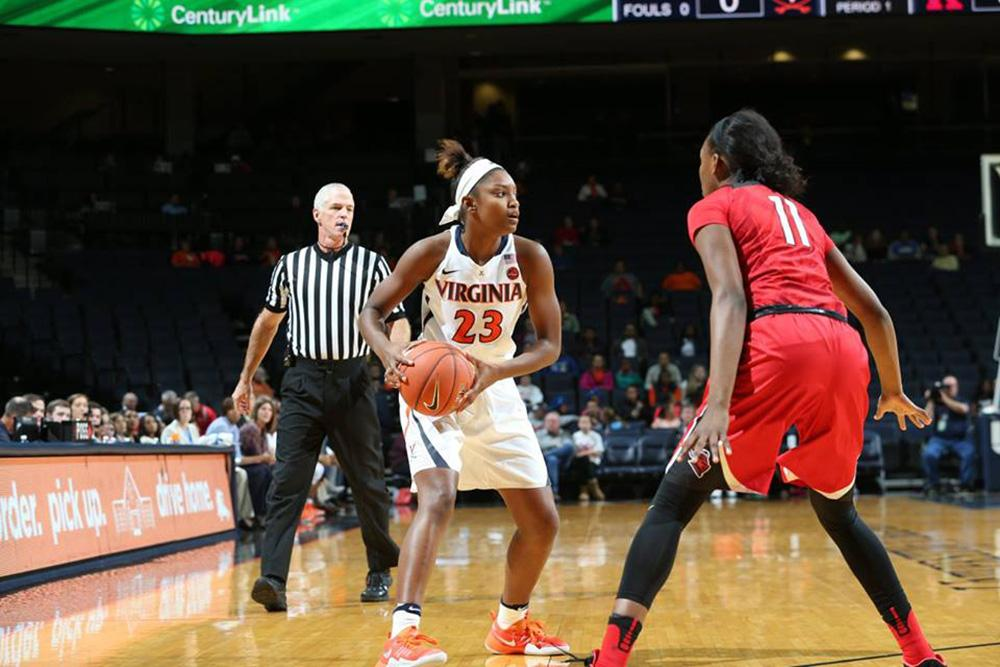 Third-year student Aliyah Huland El, a starter on the UVA women's basketball team, has made steady progress on and off the court.