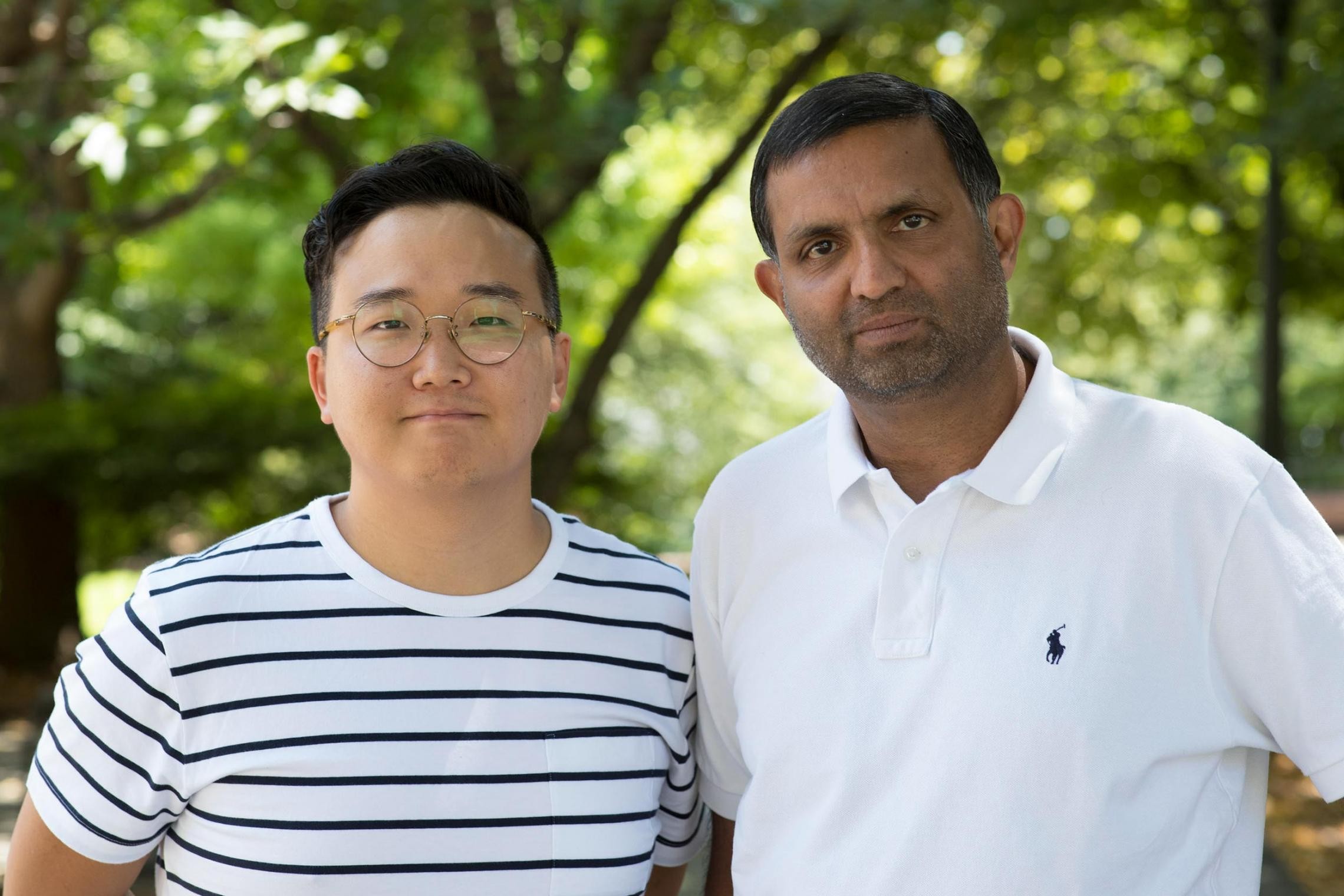 Engineering doctoral student Hyunglok Kim, left, has been selected for the first class of Future Investigators in NASA Earth and Space Science and Technology. His adviser is Venkataraman Lakshmi, right.