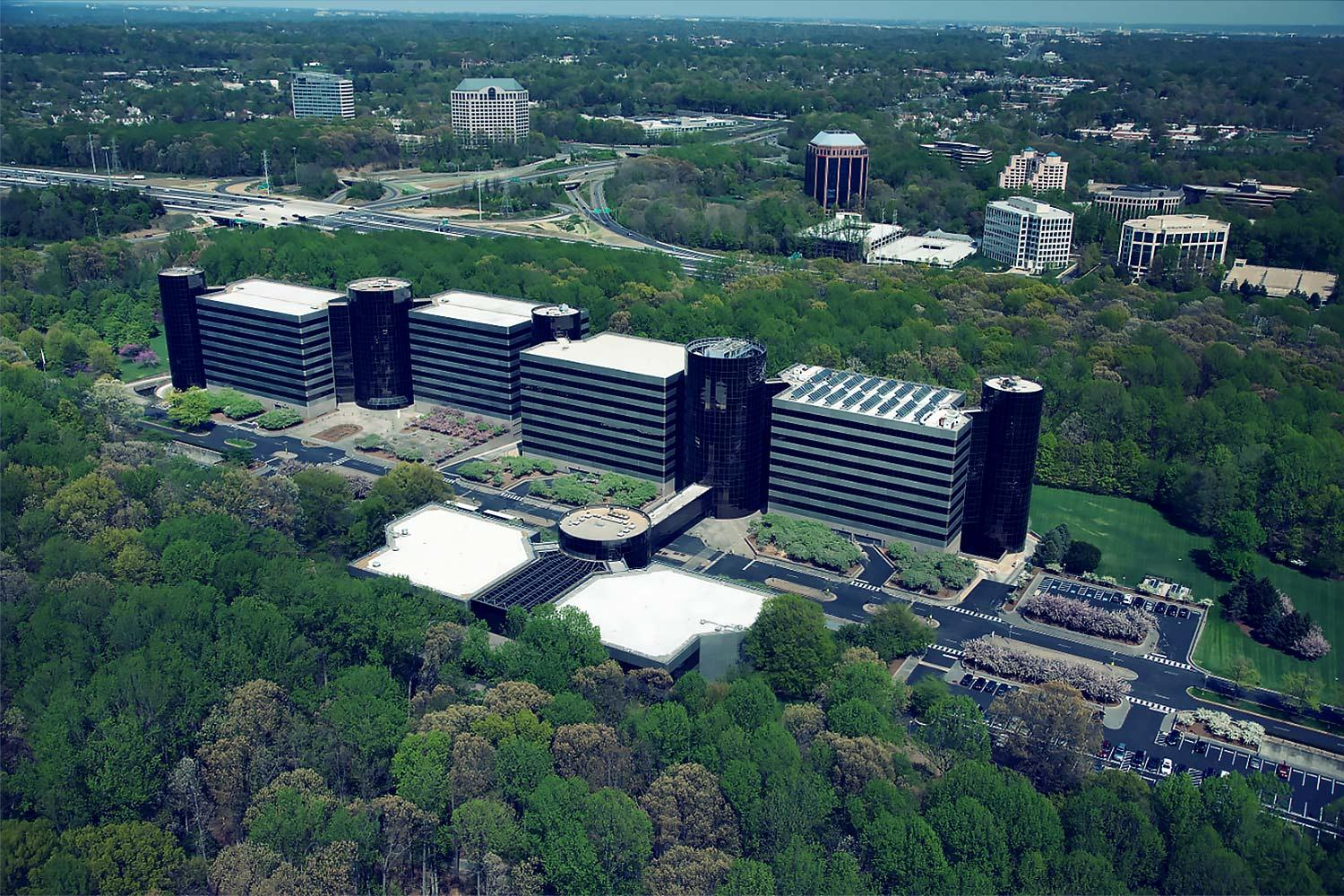 An aerial image of the Inova Center for Personalized Health, where the research institute will be located.