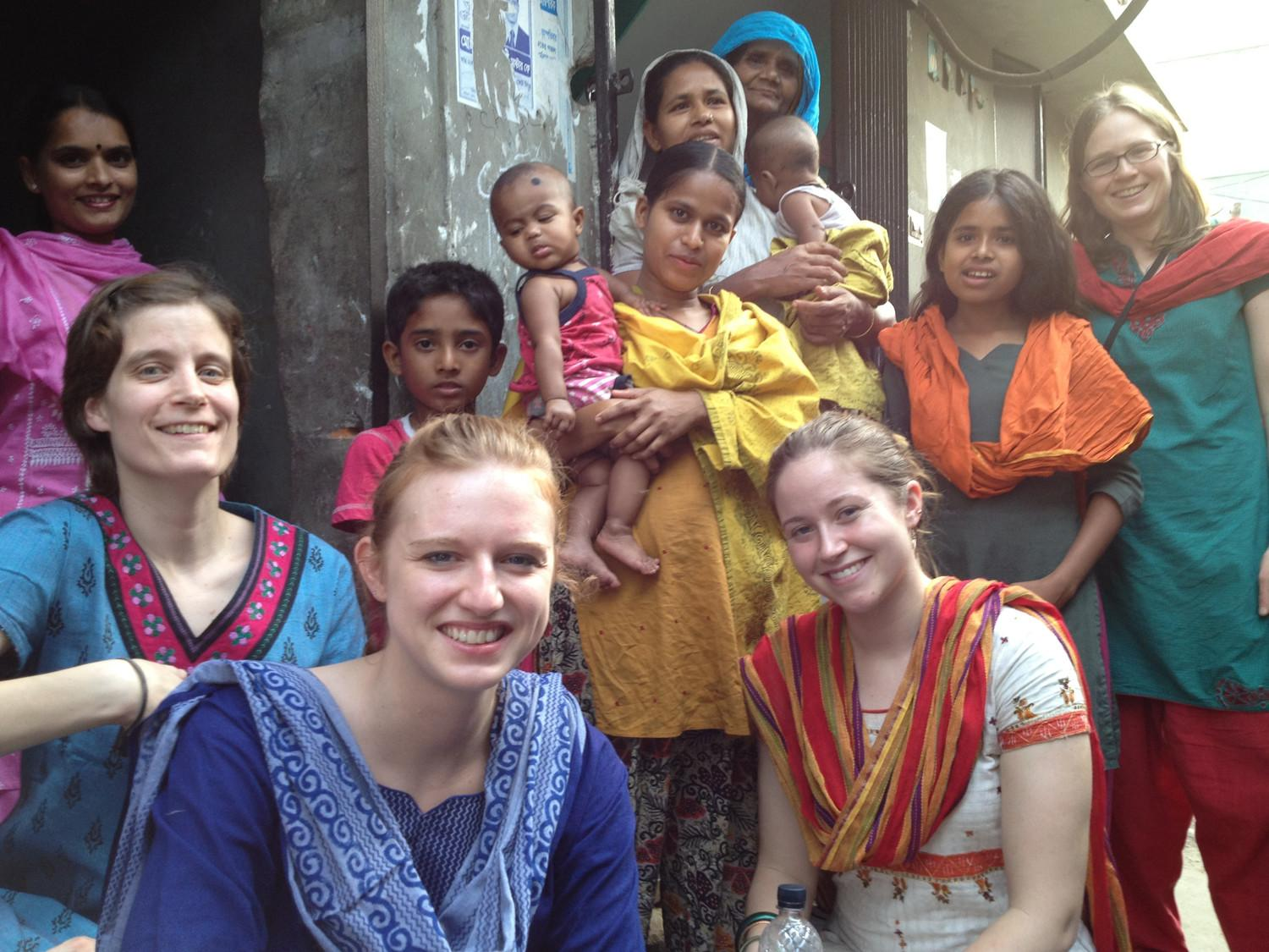 Caitlin Naylor, front left, and UVA alumna Lauren Hobbs, front right, were part of the research team that studied childhood malnutrition in the slums of Dhaka, Bangladesh.