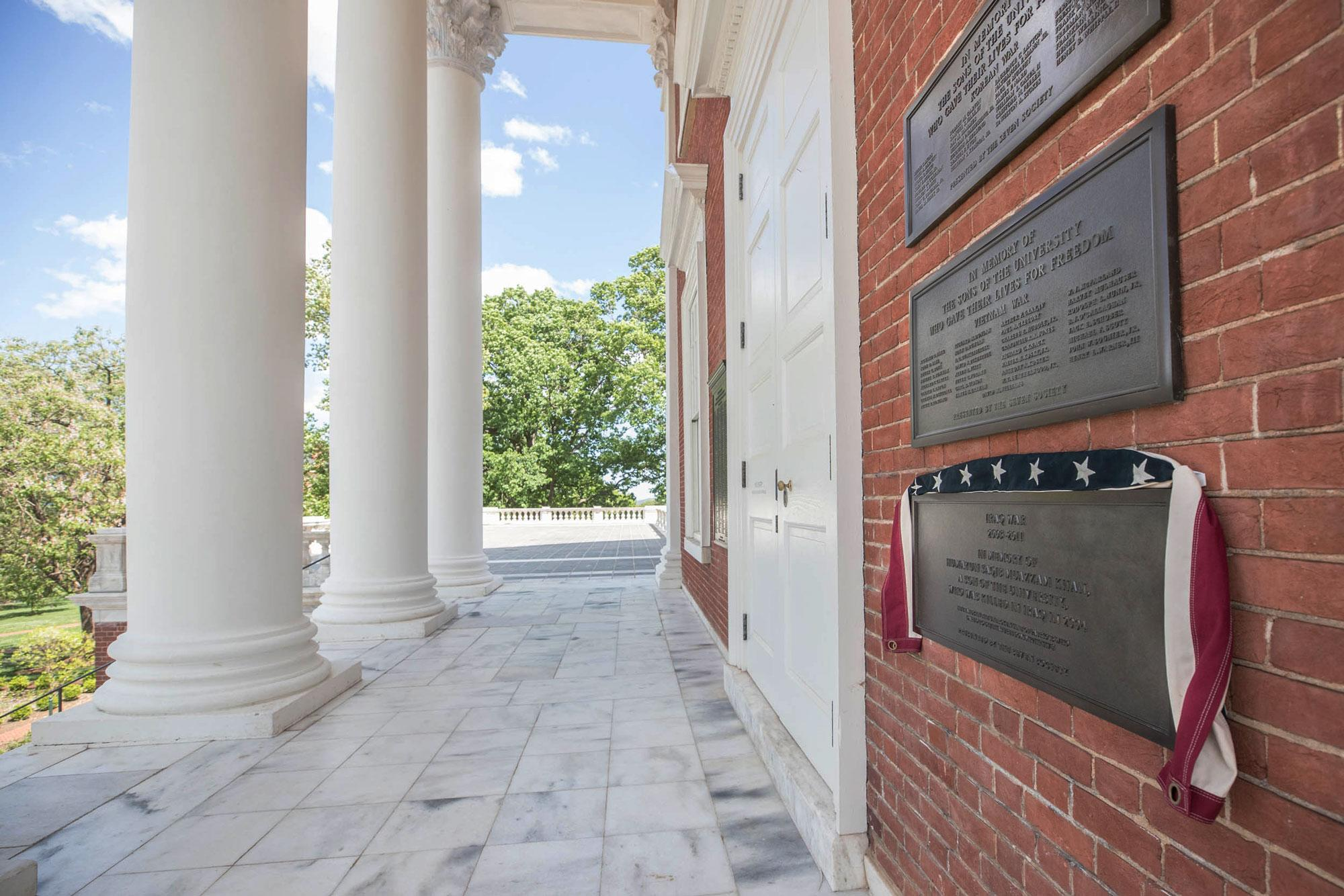 A new plaque mounted on the north wall of the Rotunda honors Capt. Humayun Khan, the lone UVA alum killed in the Iraq War. (Photos by Sanjay Suchak, University Communications)