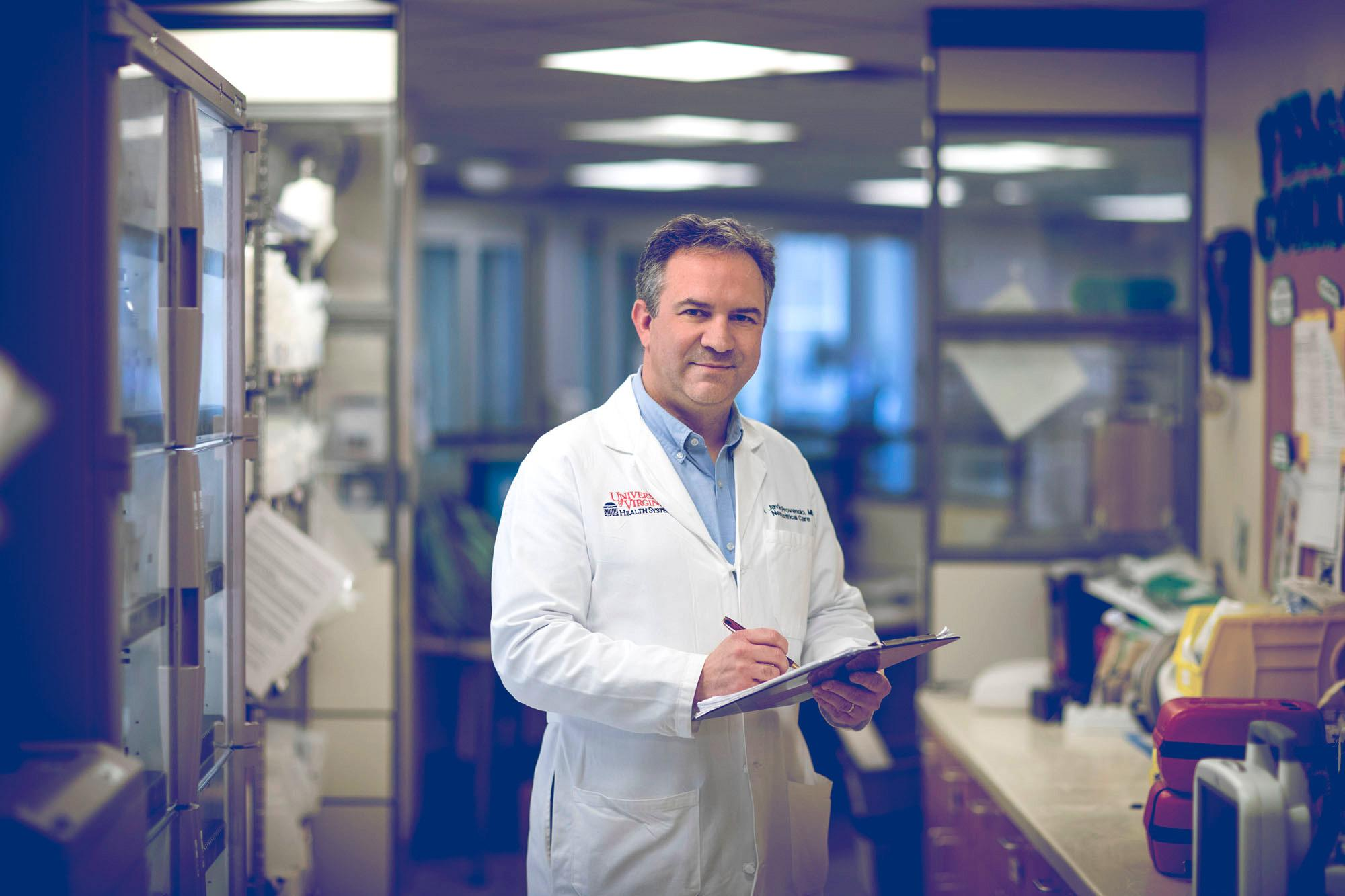 Dr. Javier Provencio is an associate professor in the University of Virginia's School of Medicine and director of UVA's Nerancy Neuroscience Intensive Care Unit.