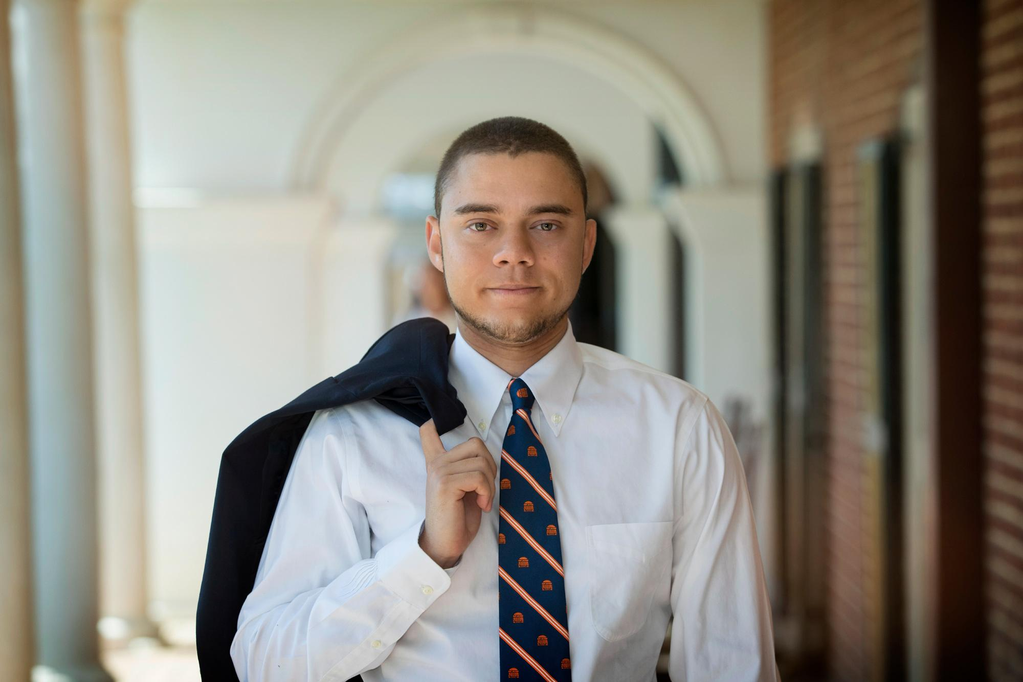 Jacob Uskavitch, an aspiring doctor-to-be, lived on the Lawn and delved into the student experience at UVA. (Dan Addison, University Communications)