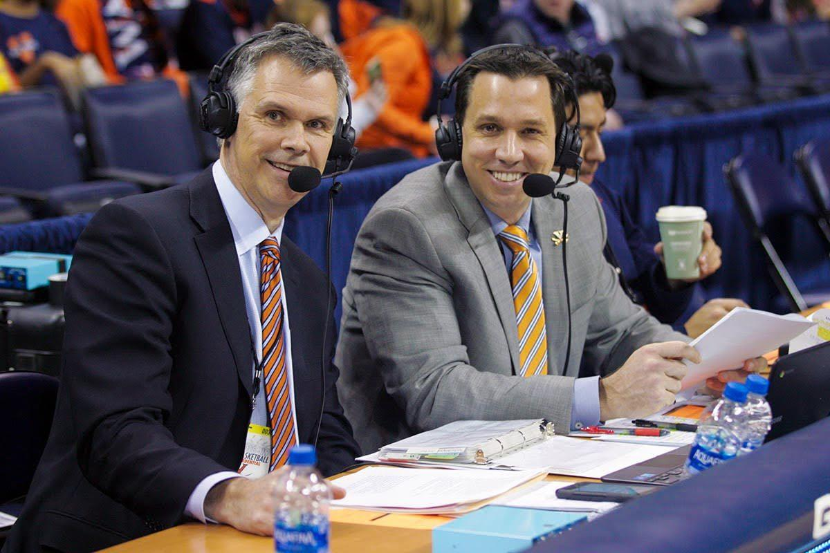 Jimmy Miller, left, played on UVA's 1984 Final Four team before building a career in finance. He's in his second season of teaming with Dave Koehn, right, on UVA basketball radio broadcasts.