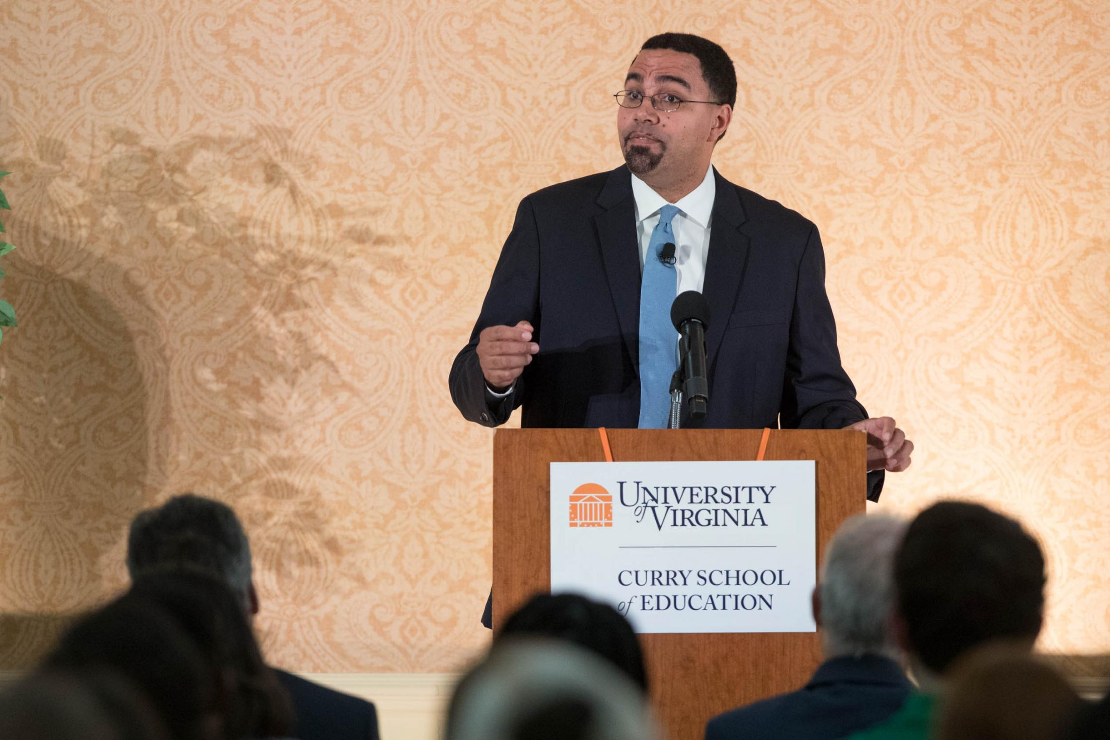 U.S. Secretary of Education John B. King Jr. addressed Curry School students on Wednesday as part of the annual Walter N. Ridley Distinguished Speaker Series. (Photo by Sanjay Suchak, University Communications)