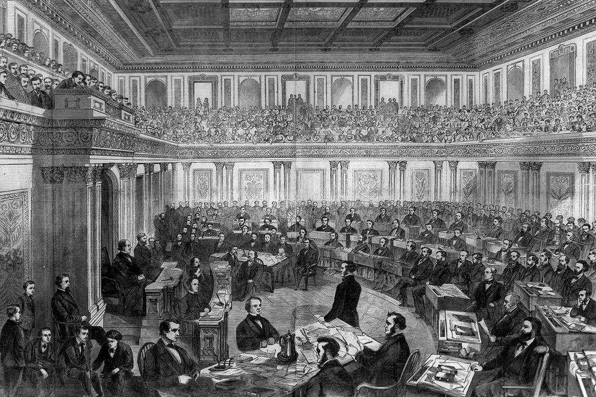 President Andrew Johnson was the first U.S. president to be impeached by the House of Representatives. He was acquitted by a one-vote margin in the Senate trial shown here.