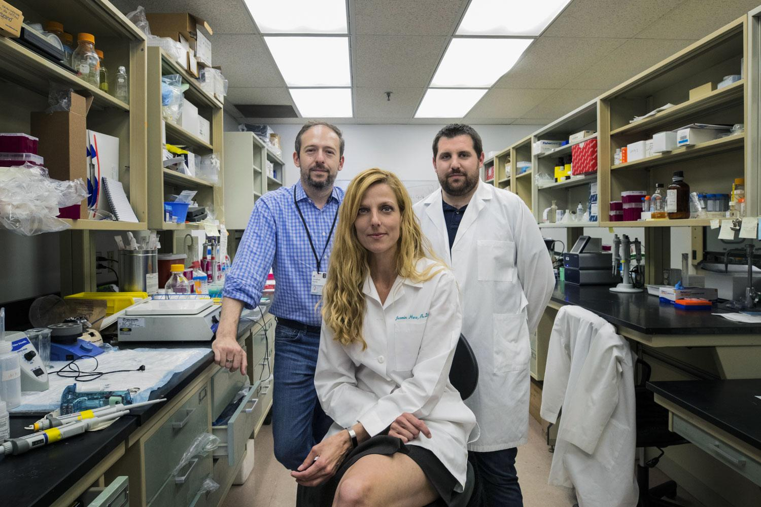 """The research team included, from left, Jonathan Kipnis, Jasmin Herz and Antoine Louveau. Kipnis called the research's potential """"beyond exciting."""""""