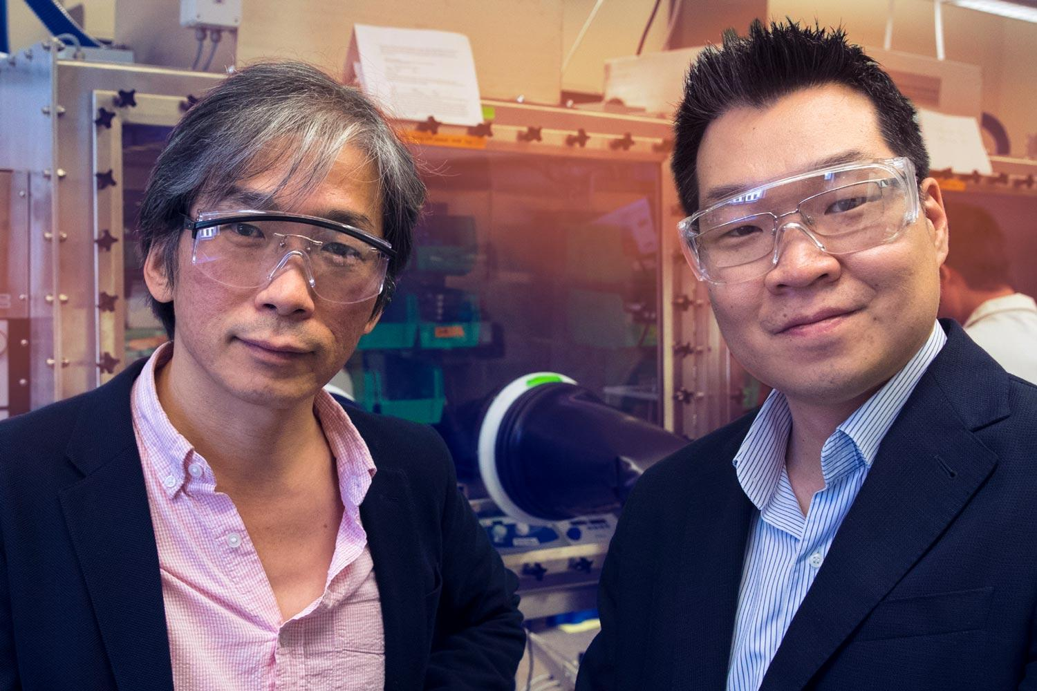Physics professor Seung-Hun Lee, left, and chemical engineering professor Joshua Choi are tweaking out the molecular details of HOIPs.