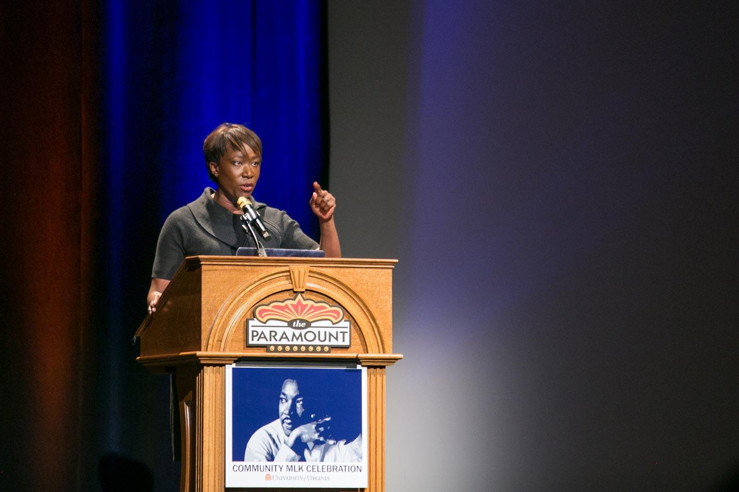 MSNBC journalist Joy Reid gave the keynote address Tuesday at the University of Virginia's Community Martin Luther King Jr. Celebration.