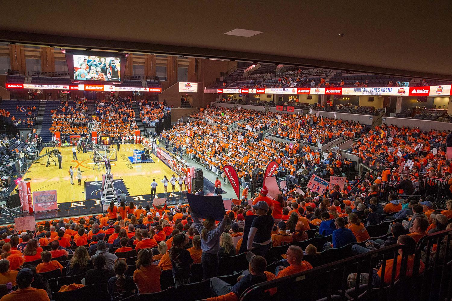 Expect another sea of orange and blue Monday night when the UVA community gathers at John Paul Jones Arena to watch the Cavaliers play for their first national championship.