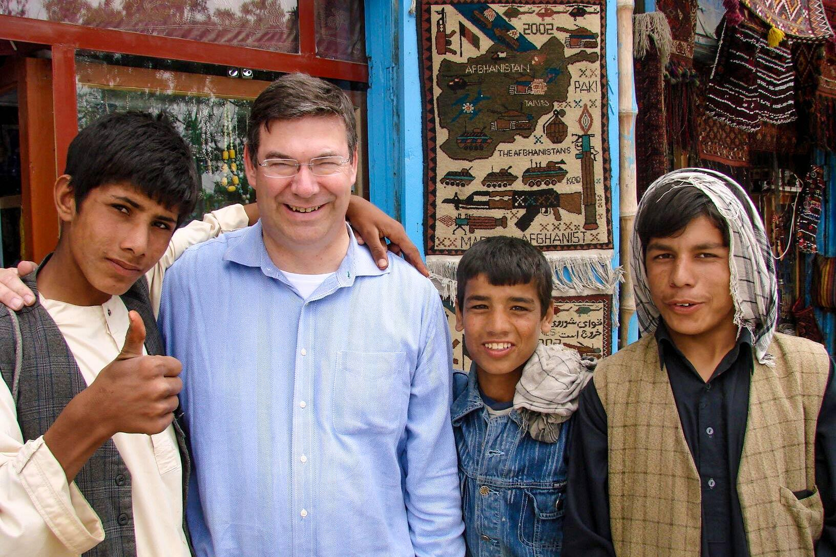 Holland with Afghan studnets in Mazar-i-Sharif, Afghanistan.